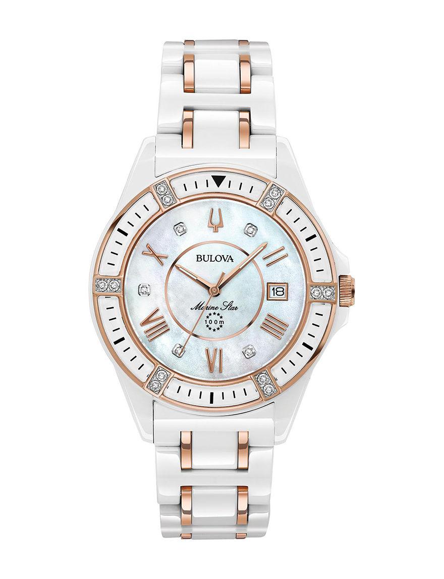 Bulova White / Gold Fashion Watches