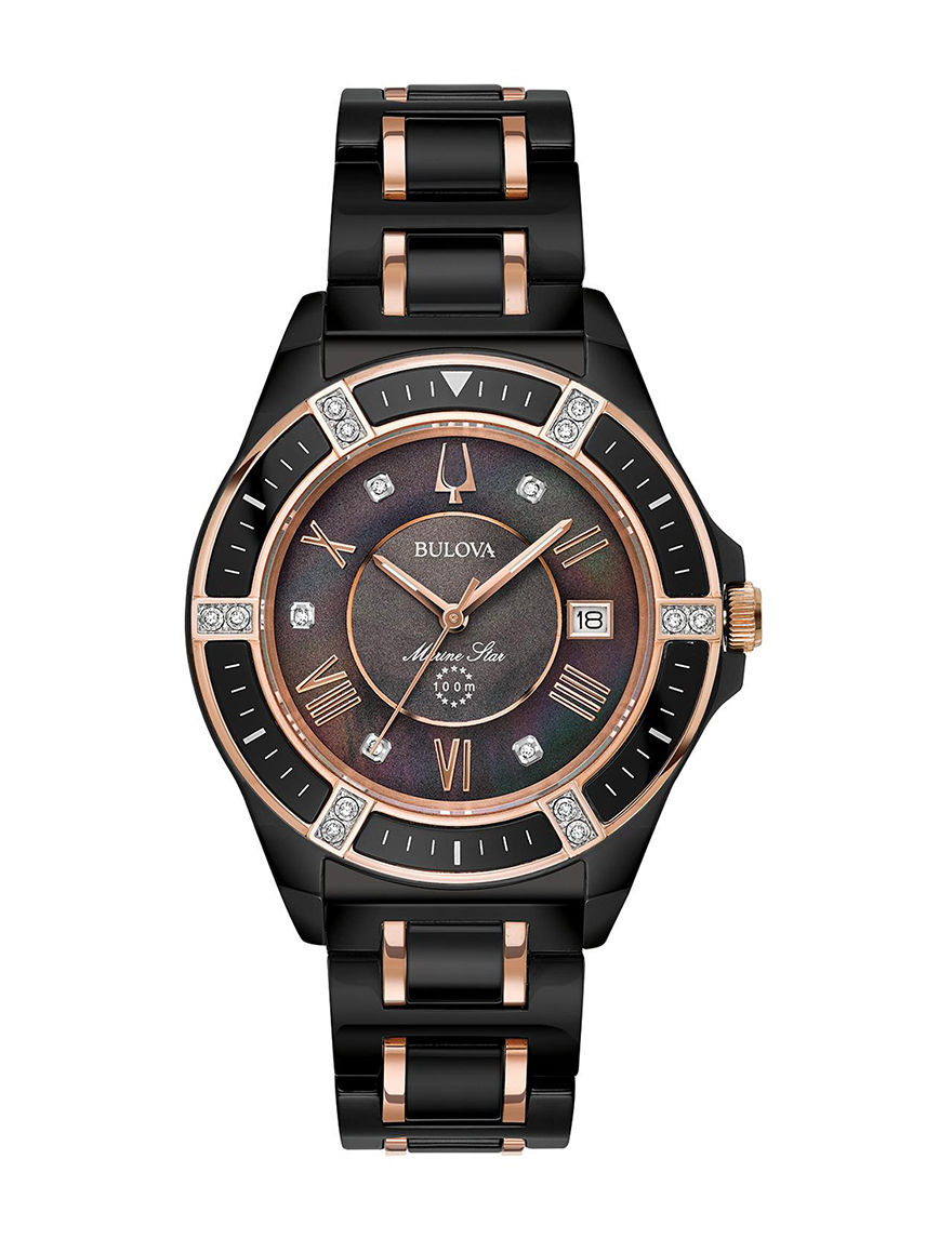 Bulova Black / Gold Fashion Watches