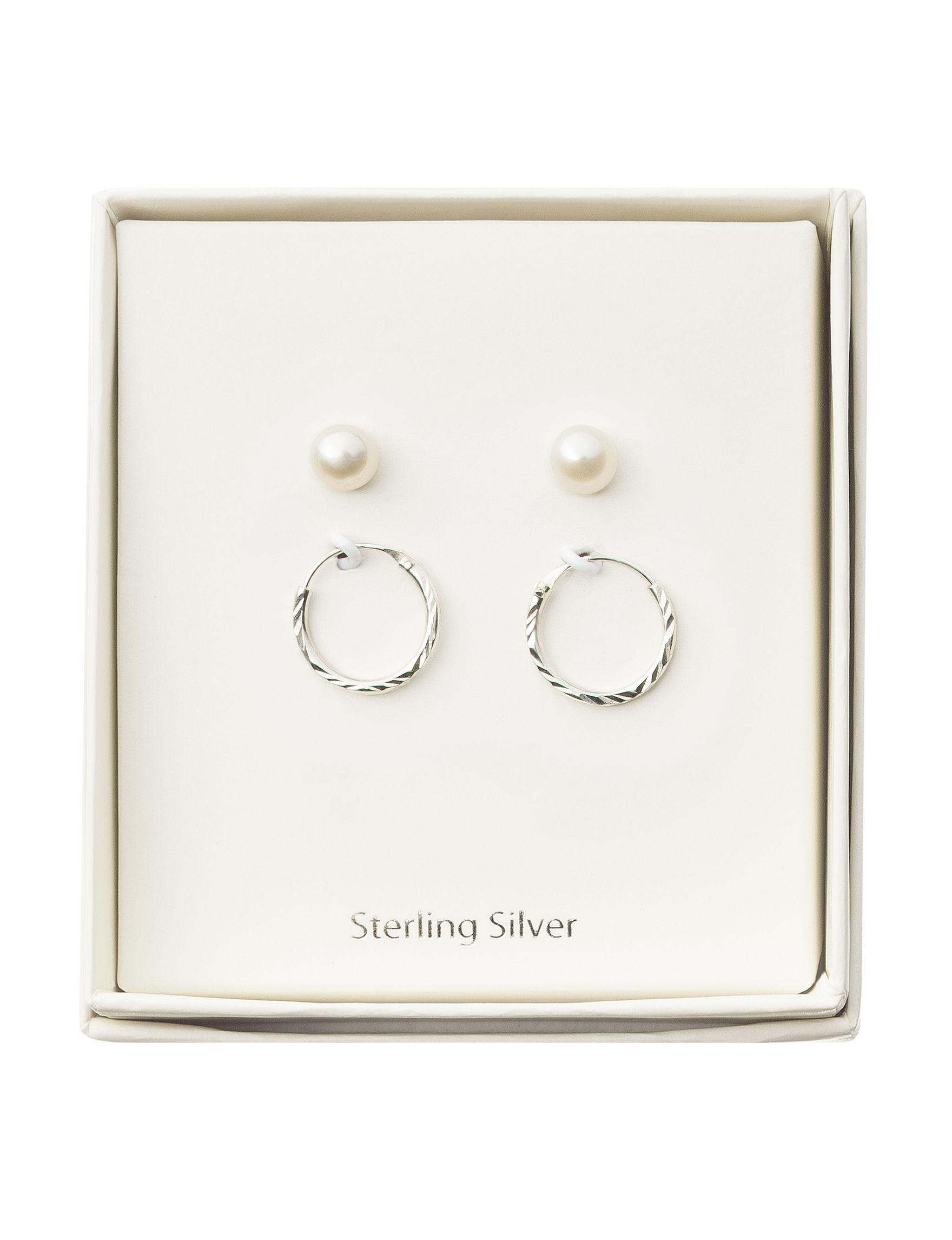 Marsala Black /  White Hoops Studs Earrings Fine Jewelry