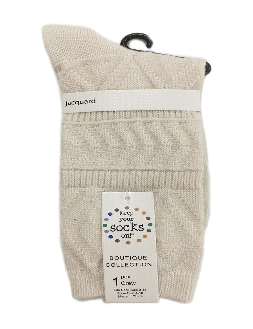 Keep Your Socks On Cream Socks