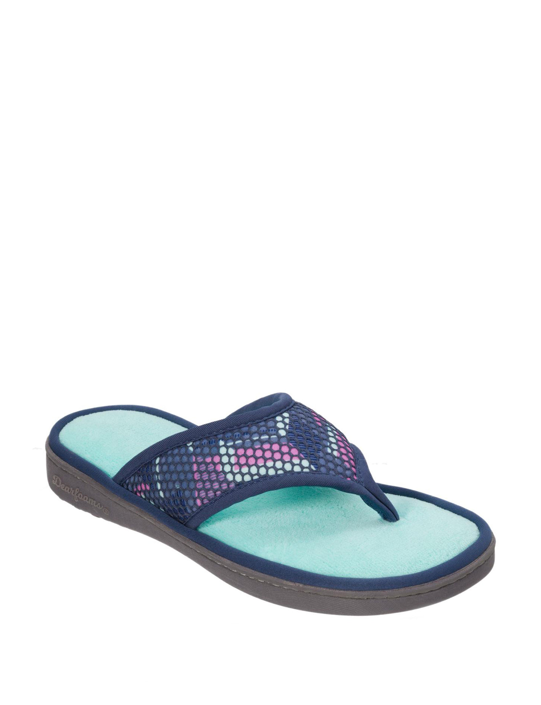 Dearfoams Teal Slipper Sandals