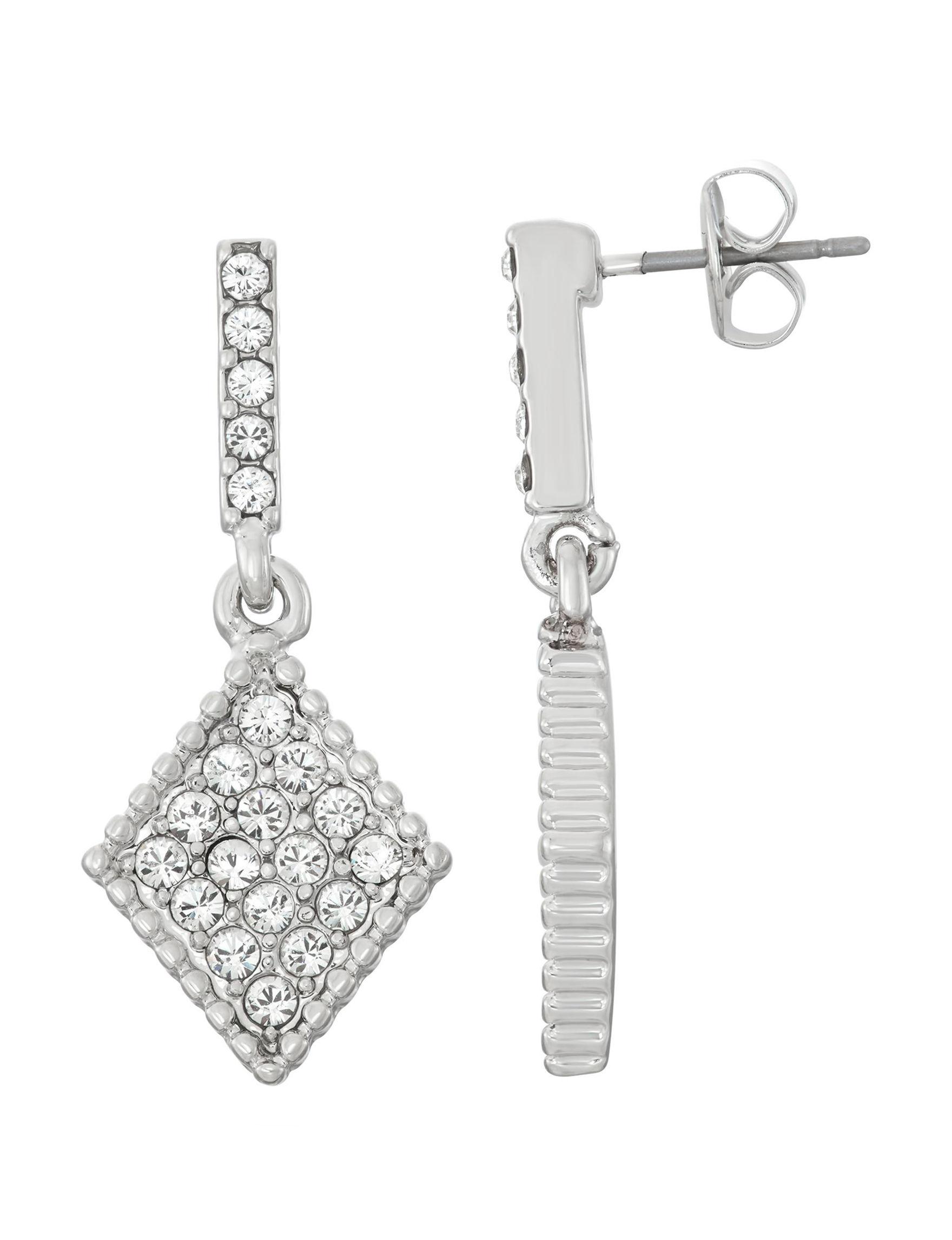 Crystal Colors Silver Earrings Fine Jewelry