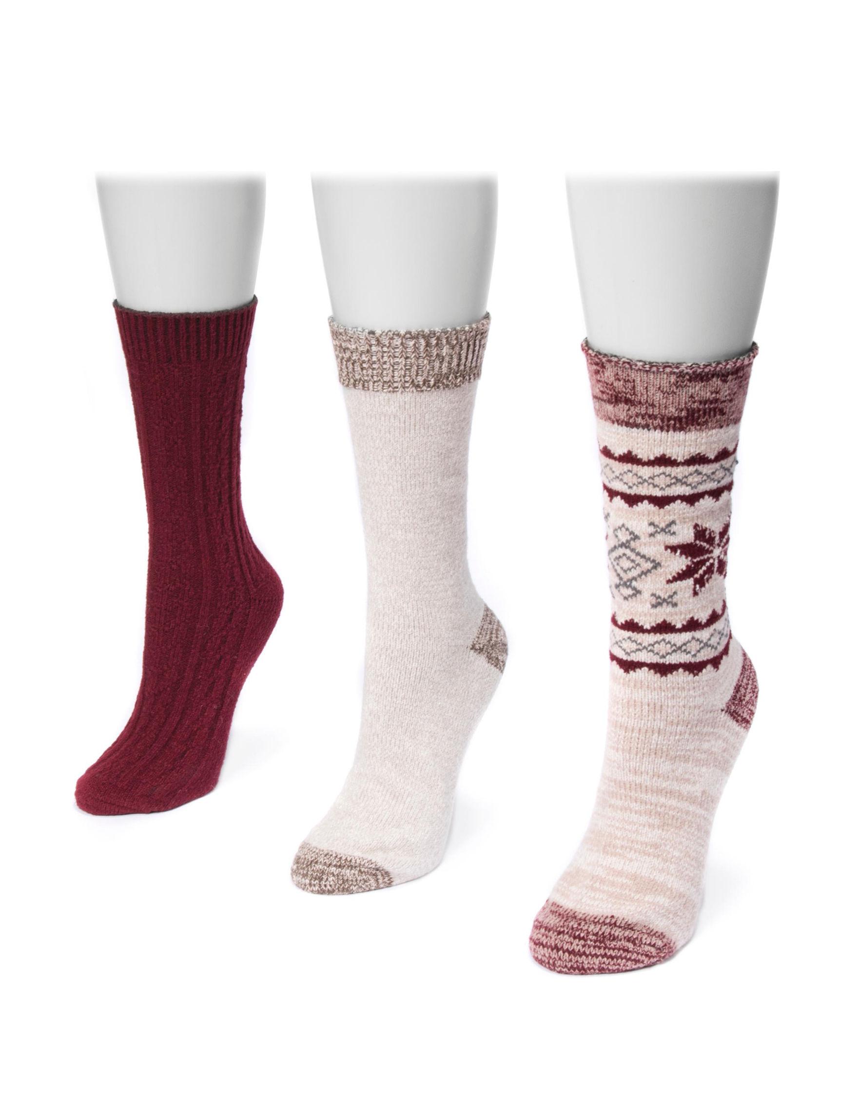 Muk Luks Burgundy Socks