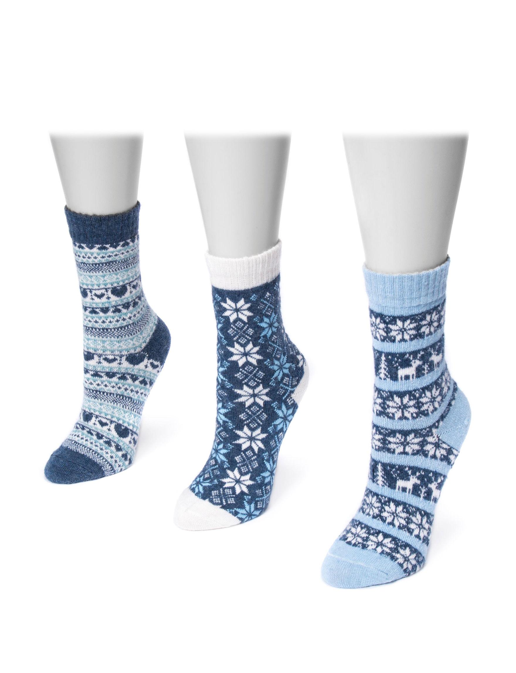 Muk Luks Blue / White Socks