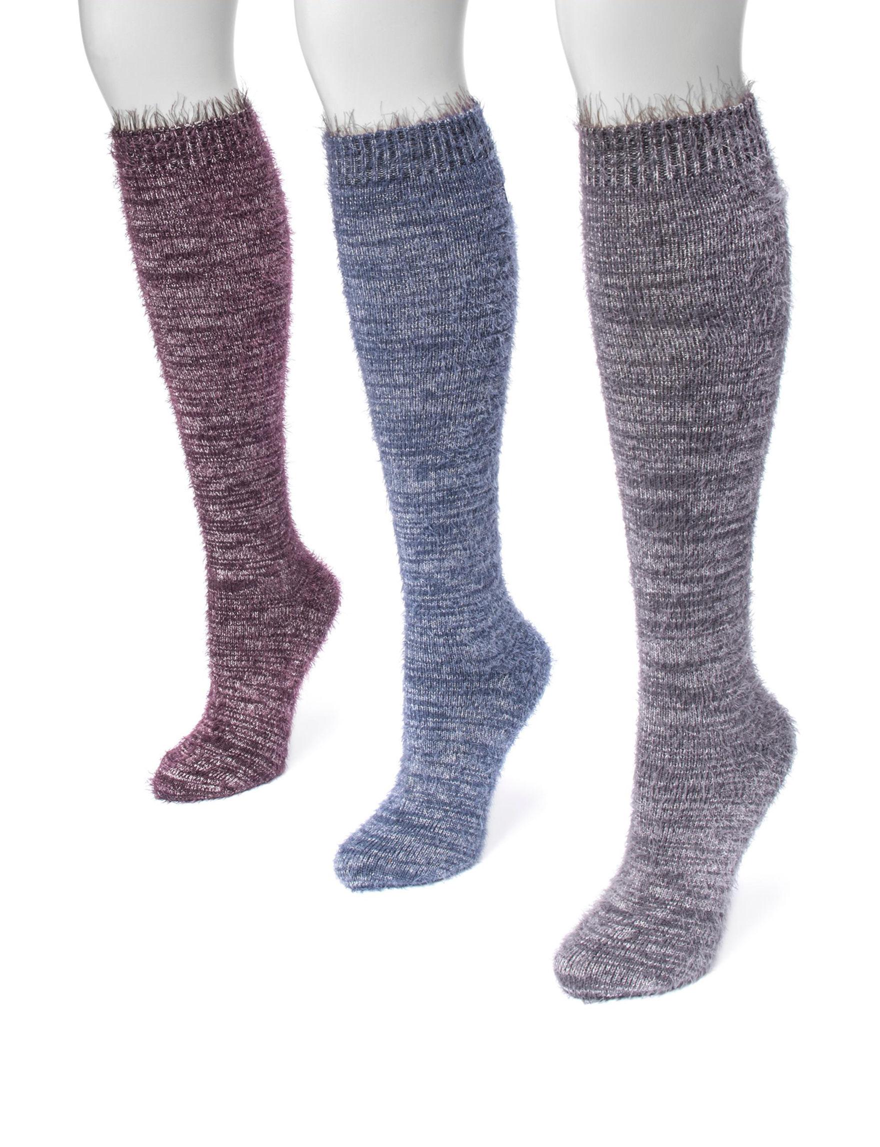 Muk Luks Blue Multi Socks