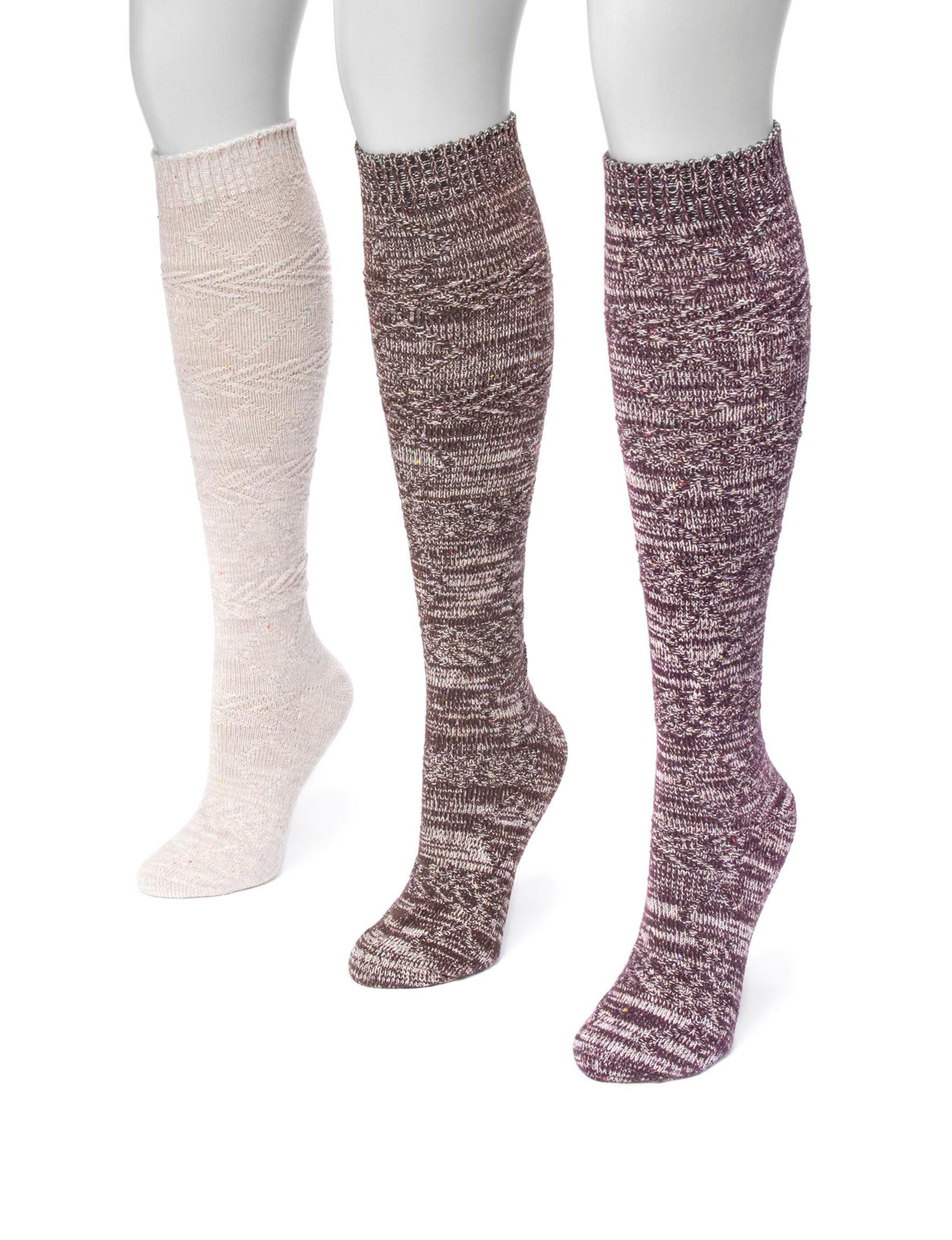 Muk Luks Brown Multi Socks
