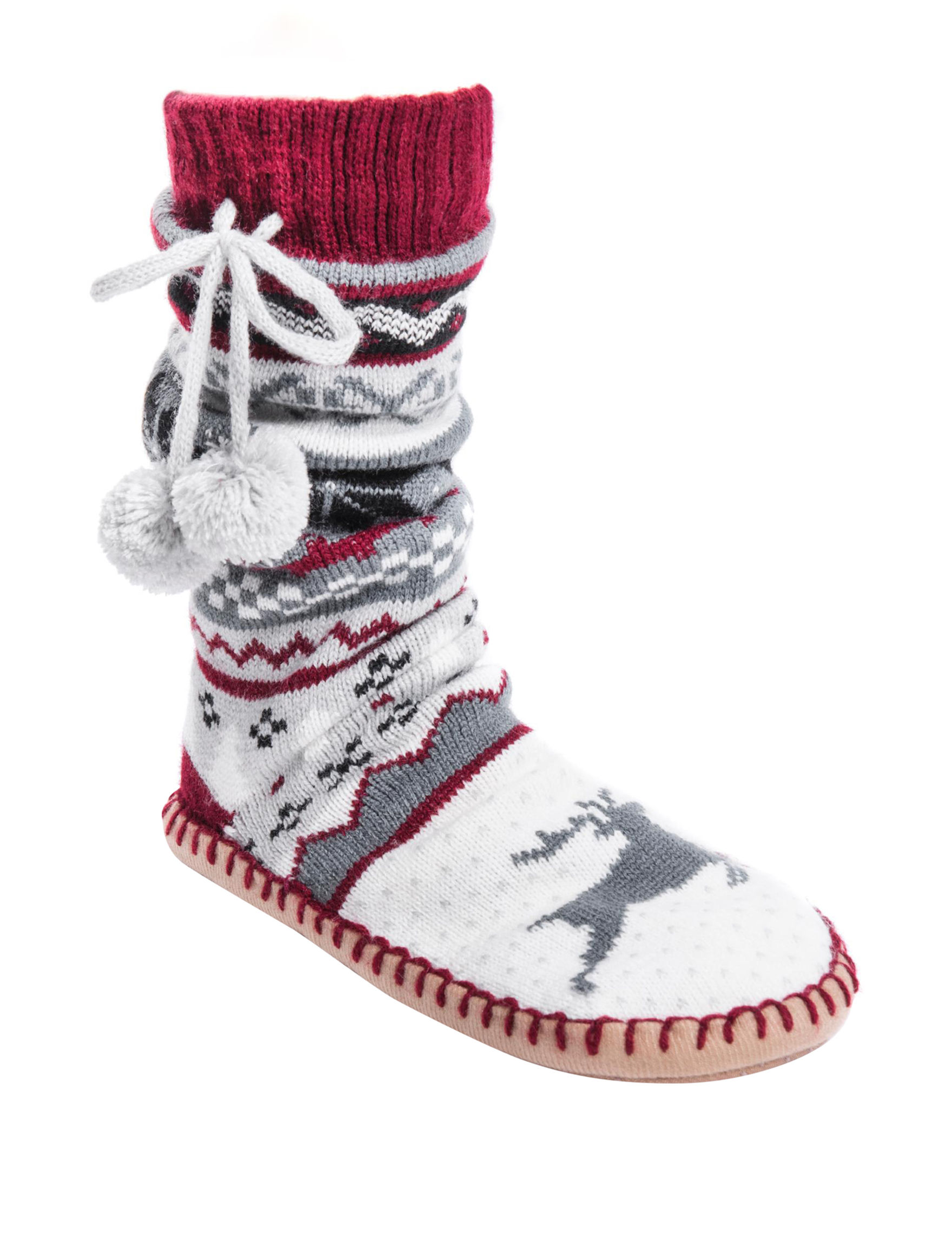 Muk Luks Red Multi Slipper Socks