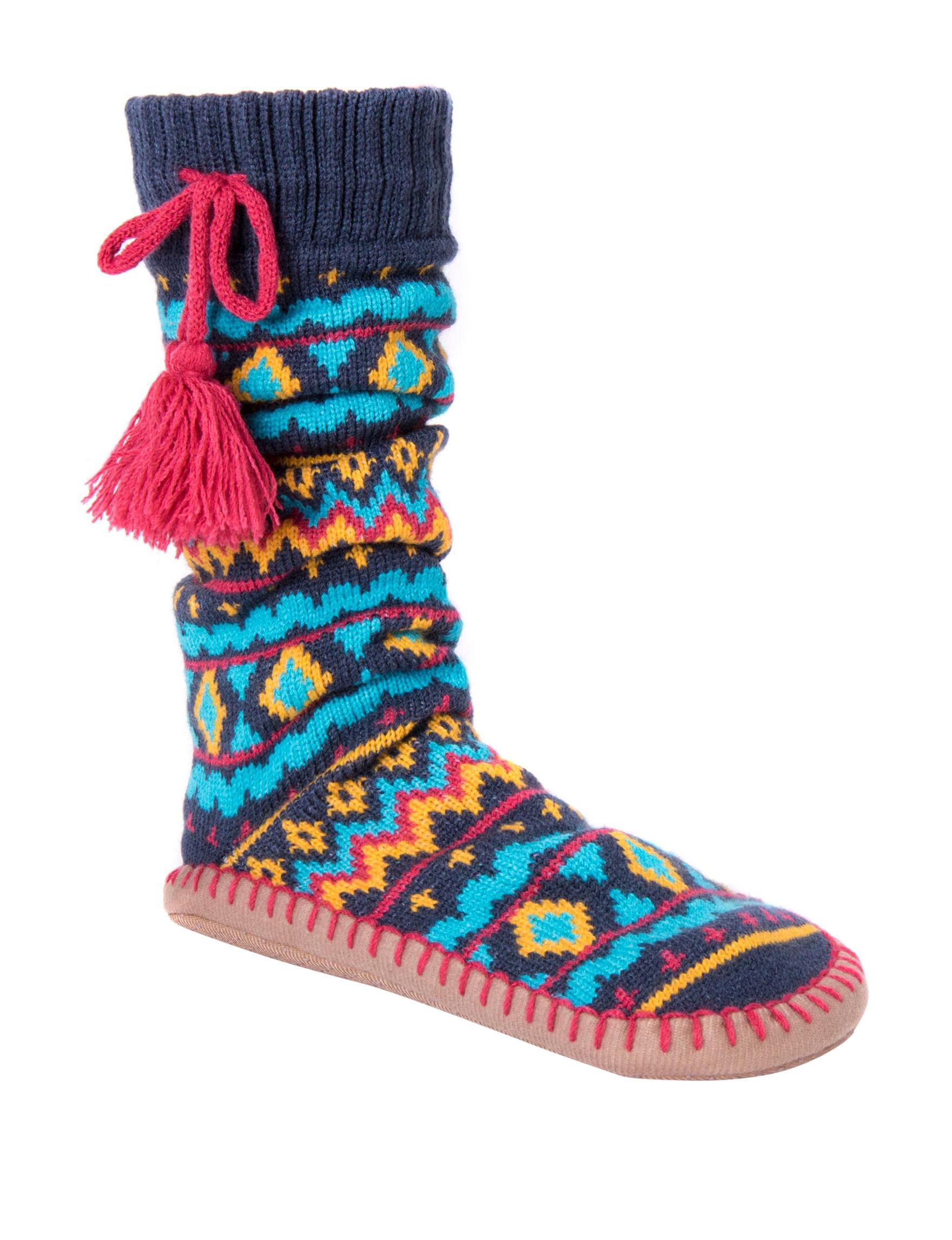 Muk Luks Blue Multi Slipper Socks