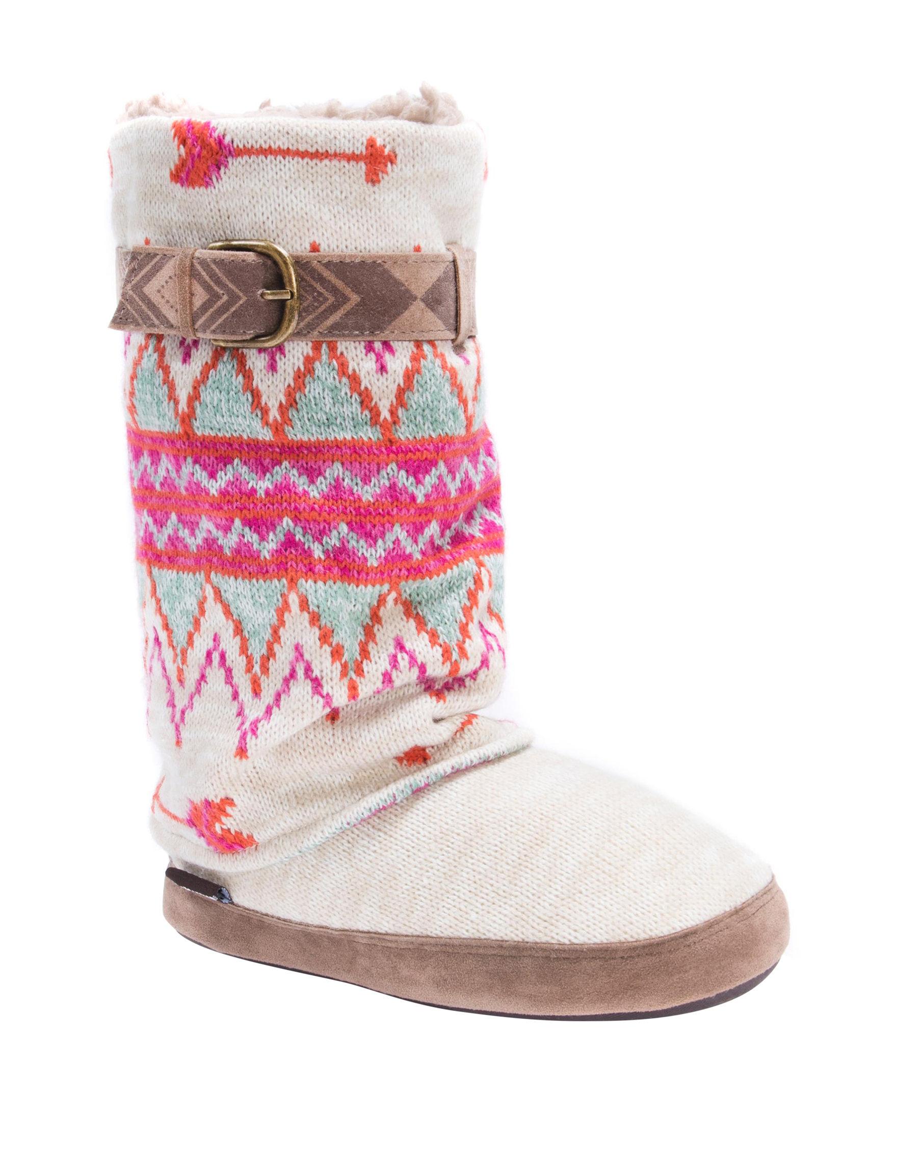 Muk Luks Cream Slipper Boots & Booties