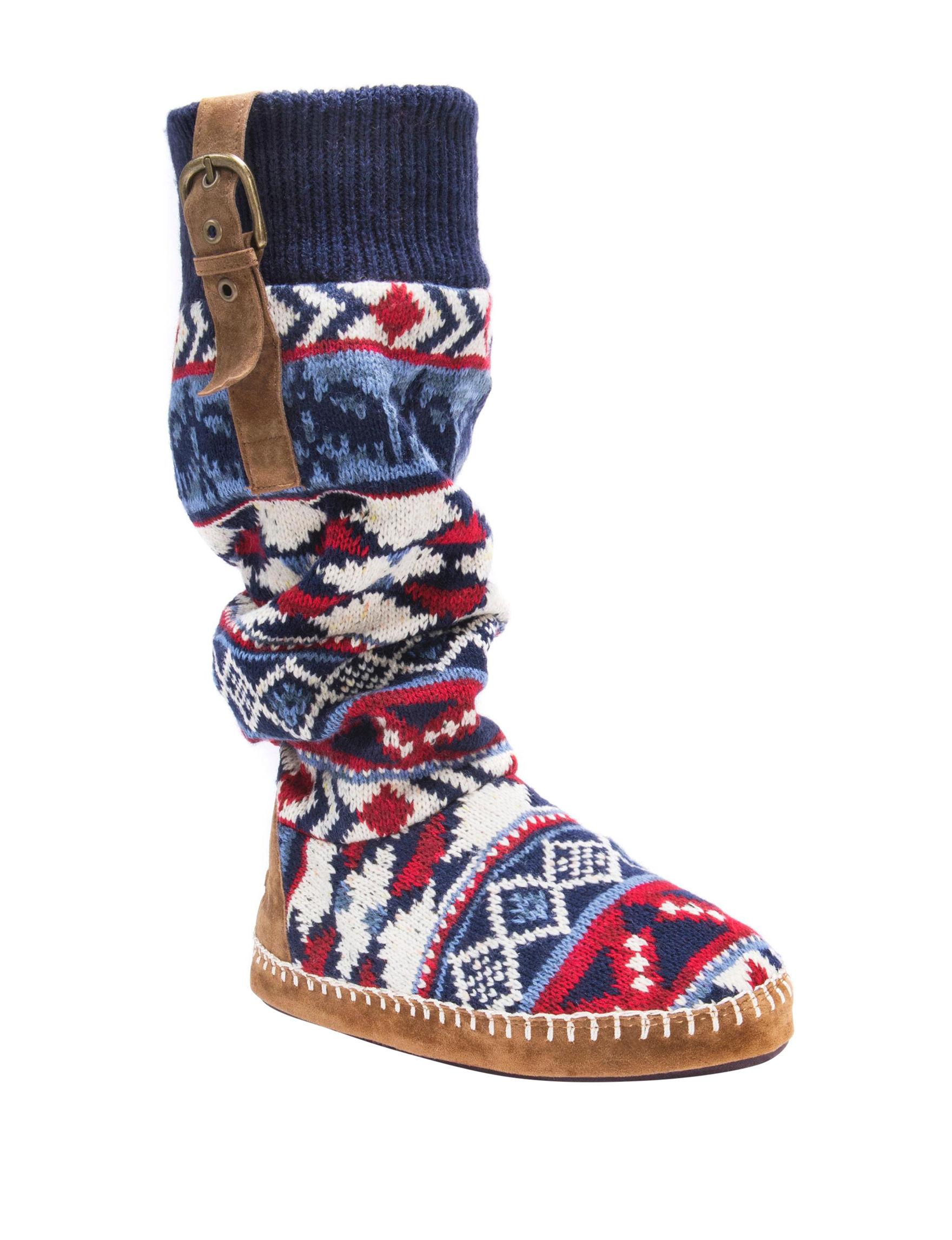 Muk Luks Blue Multi Slipper Boots & Booties