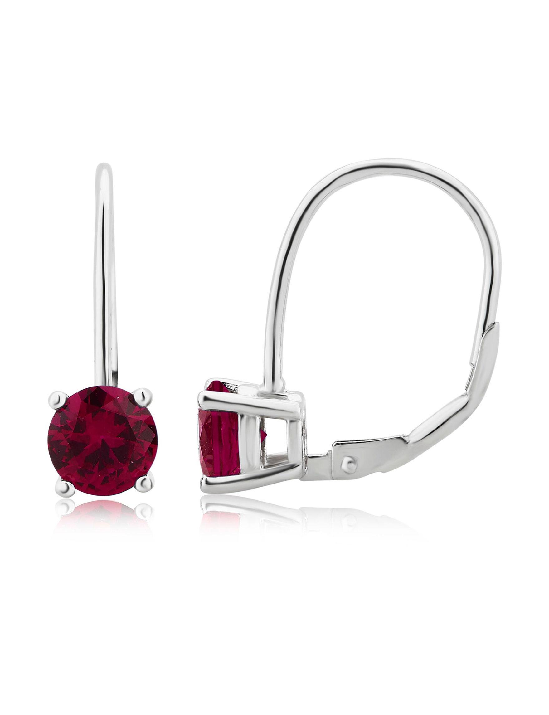 Ruby Hoops Earrings Fine Jewelry