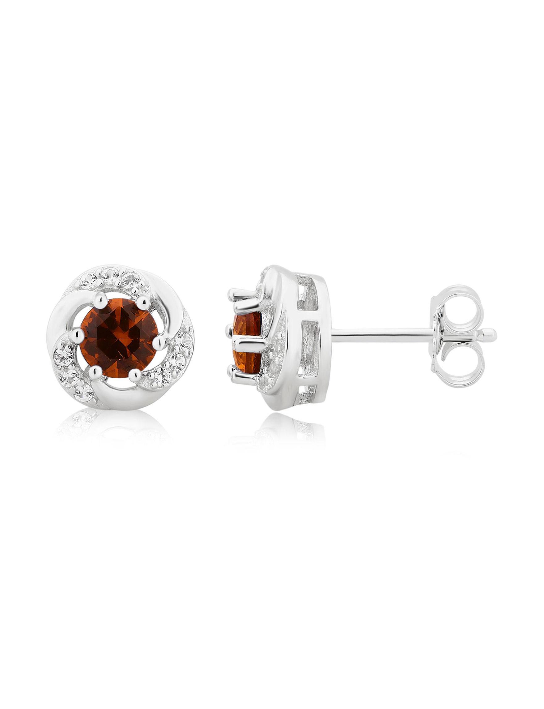 Silver Studs Earrings Fine Jewelry