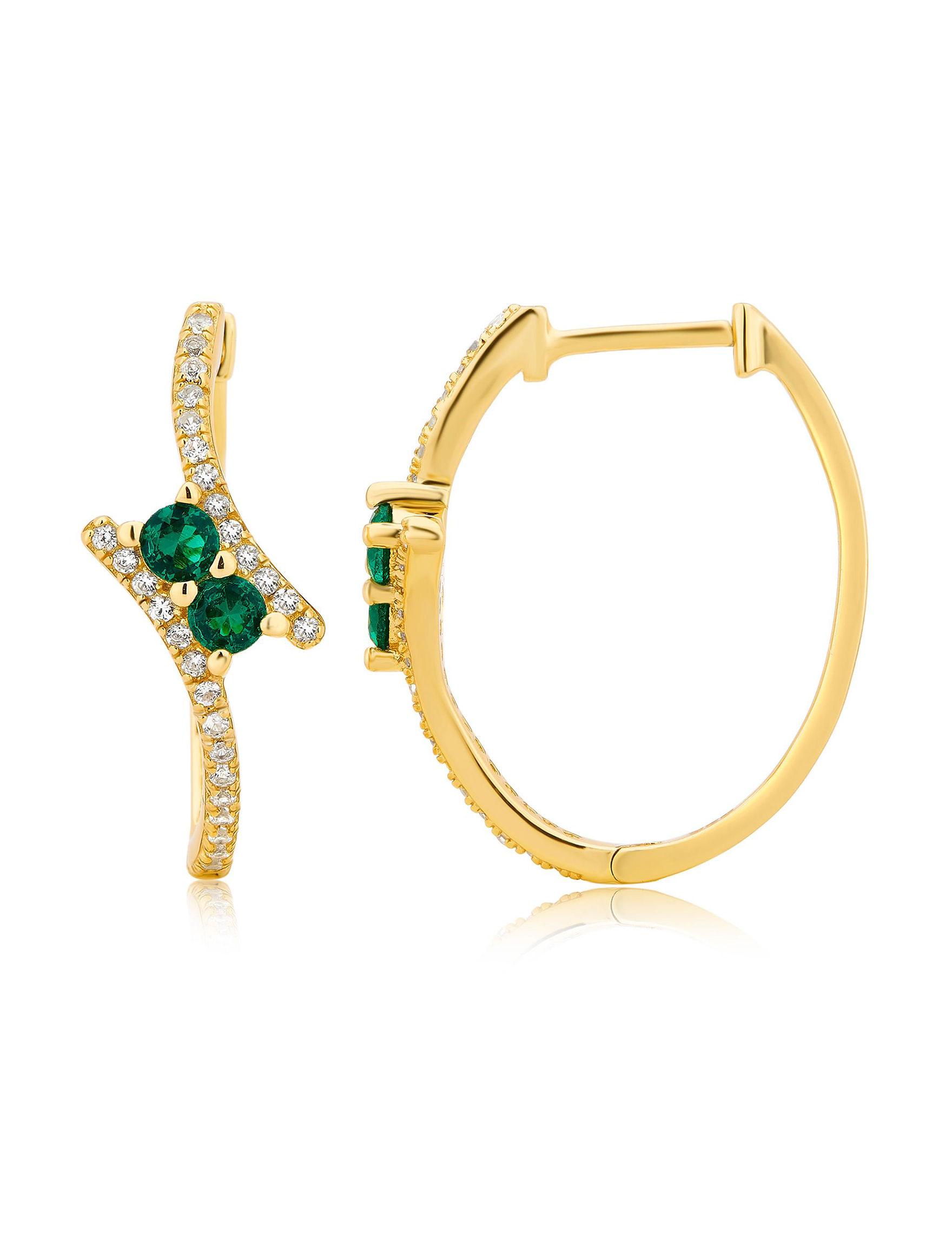 Gold Hoops Earrings Fine Jewelry