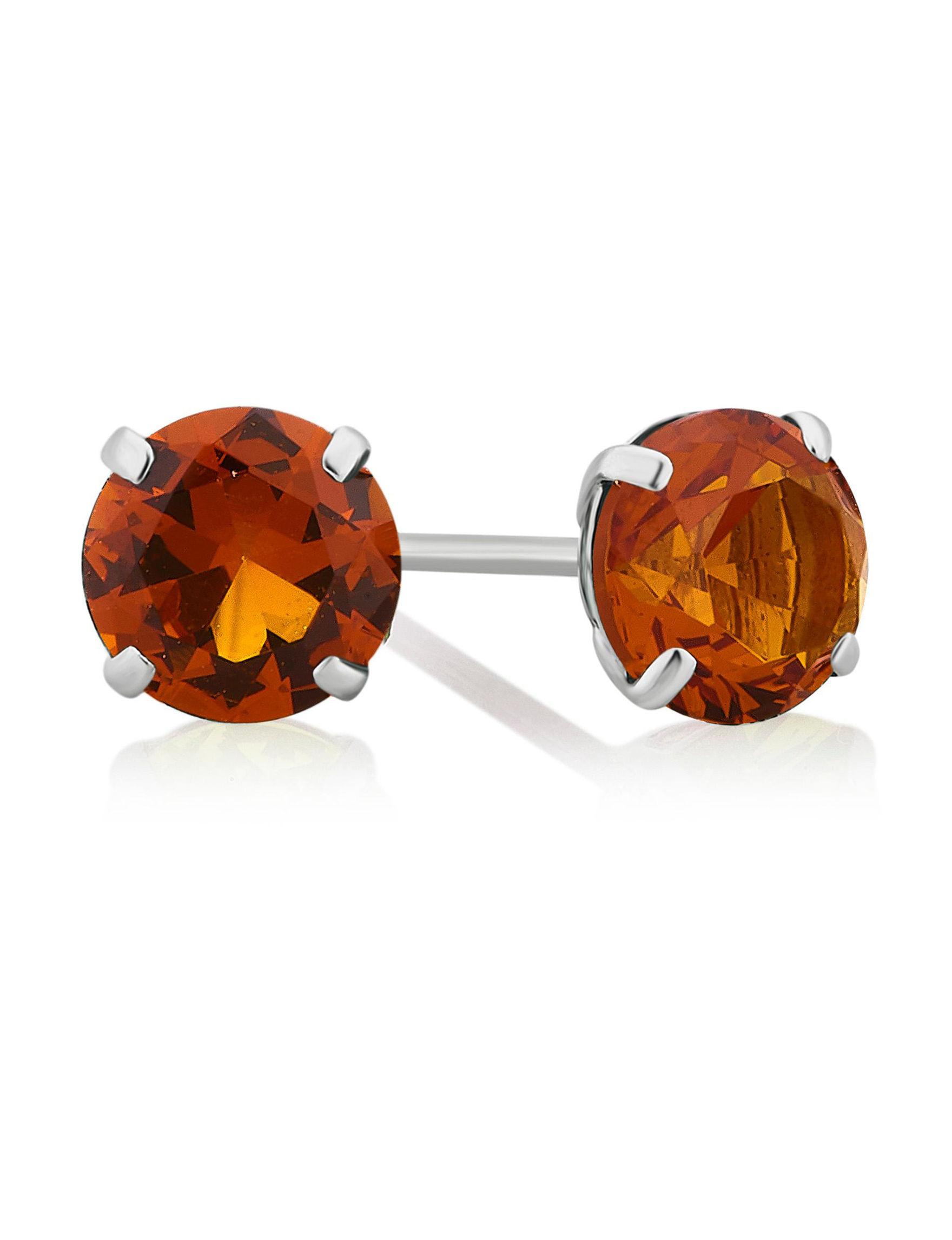 Citrine Studs Earrings Fine Jewelry