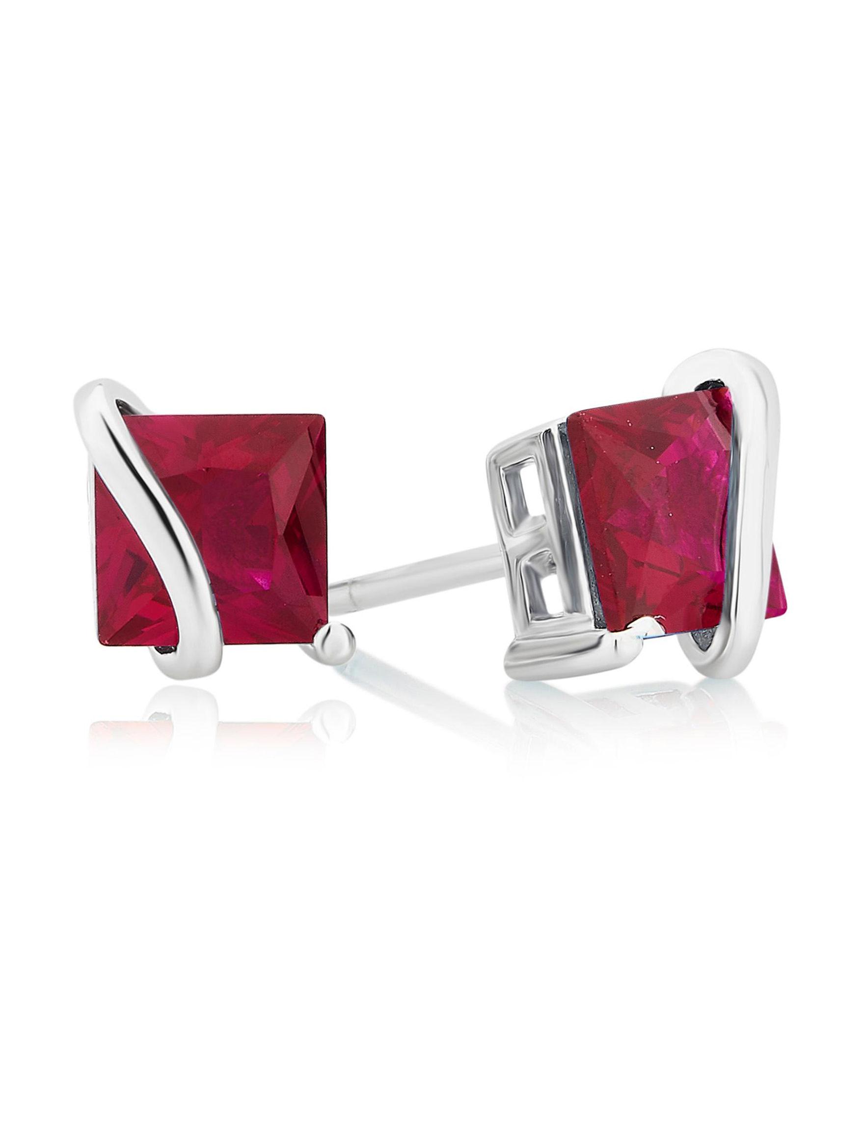 Ruby Studs Earrings Fine Jewelry