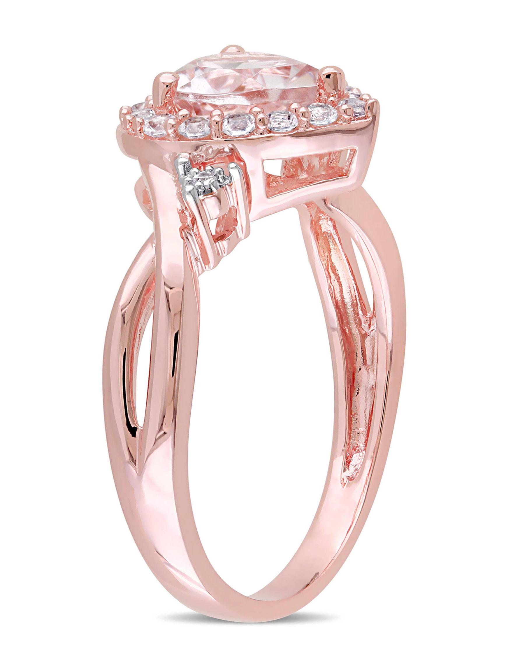 Blush Collection Morganite, Diamond & Created White Sapphire Ring ...