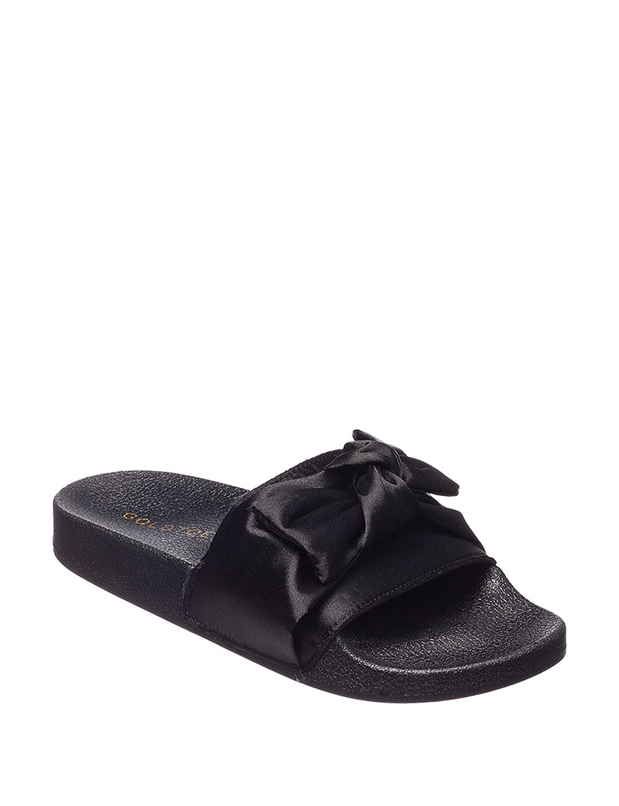 Gold Toe Black Slipper Sandals