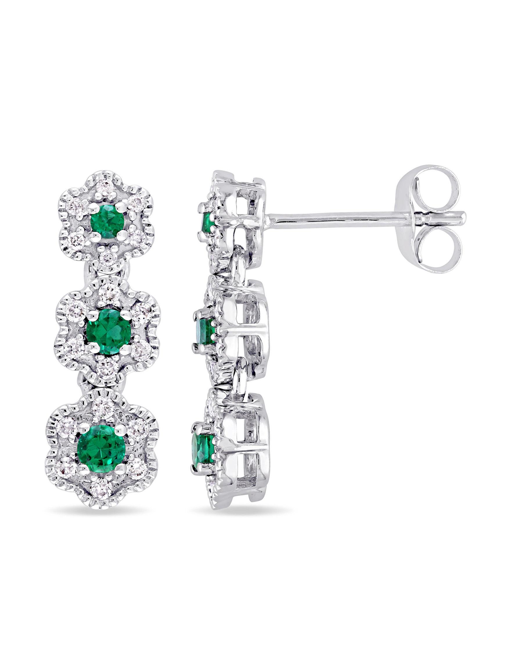 Laura Ashley White Gold Drops Earrings Fine Jewelry