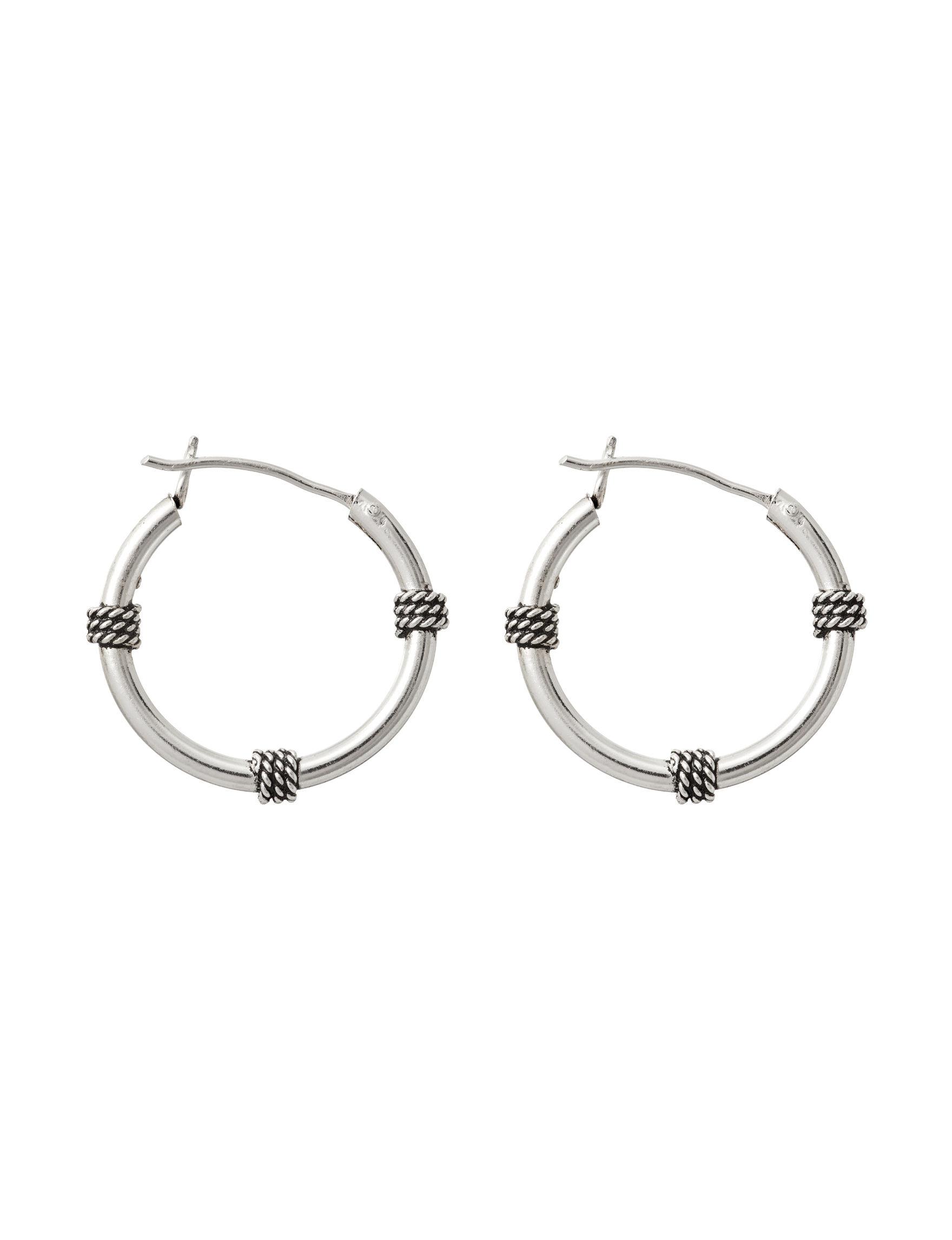 Marsala Silver Drops Hoops Earrings Fine Jewelry