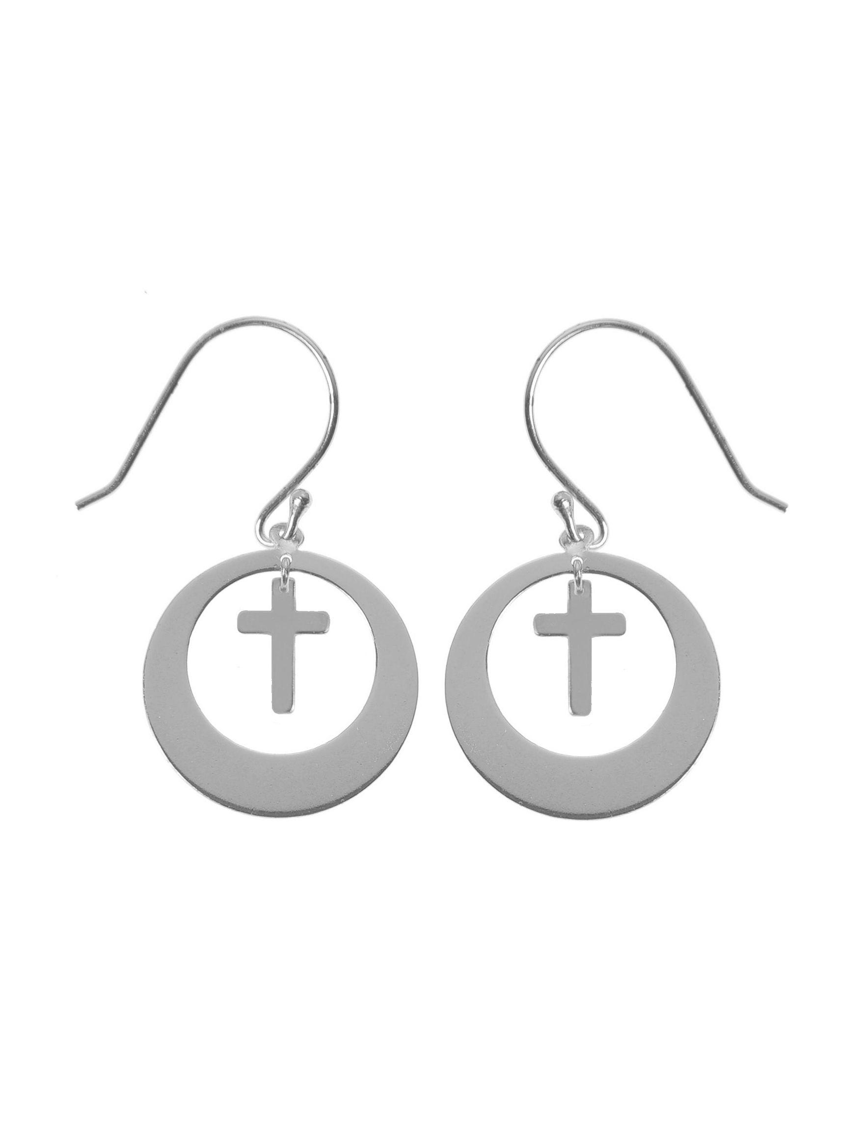 L & J White / Silver Drops Earrings Fine Jewelry