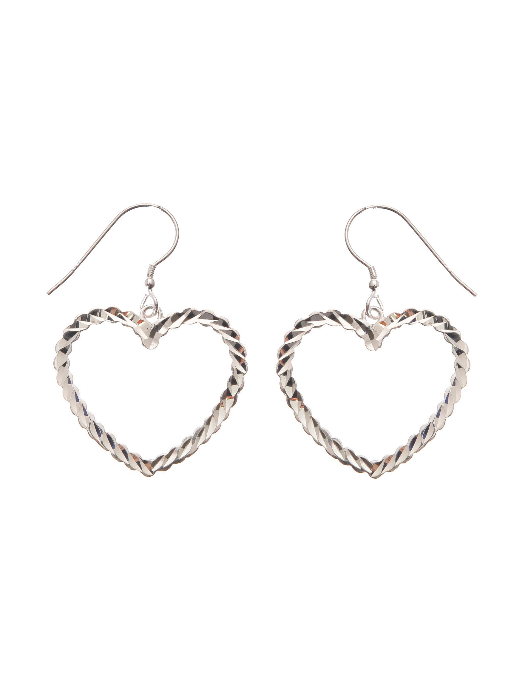 L & J White / Silver Drops Earrings Fine Jewelry