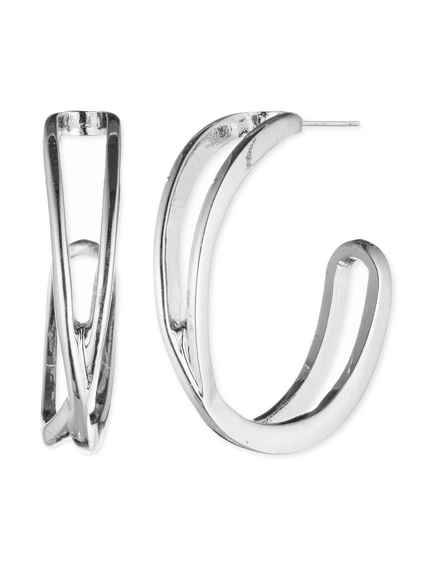 Nine West Silver Hoops Earrings Fashion Jewelry