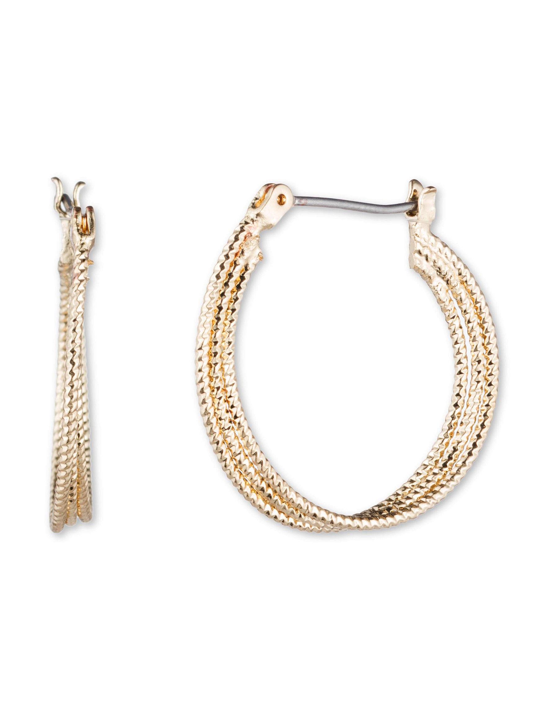 Nine West Gold Hoops Earrings Fashion Jewelry