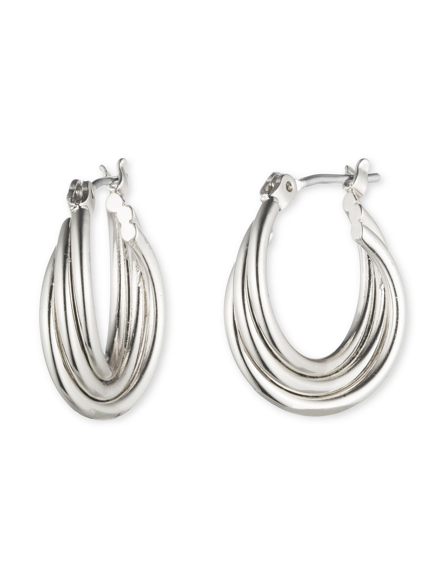 Nine West Silver Hoops Earrings Fashion Jewelry