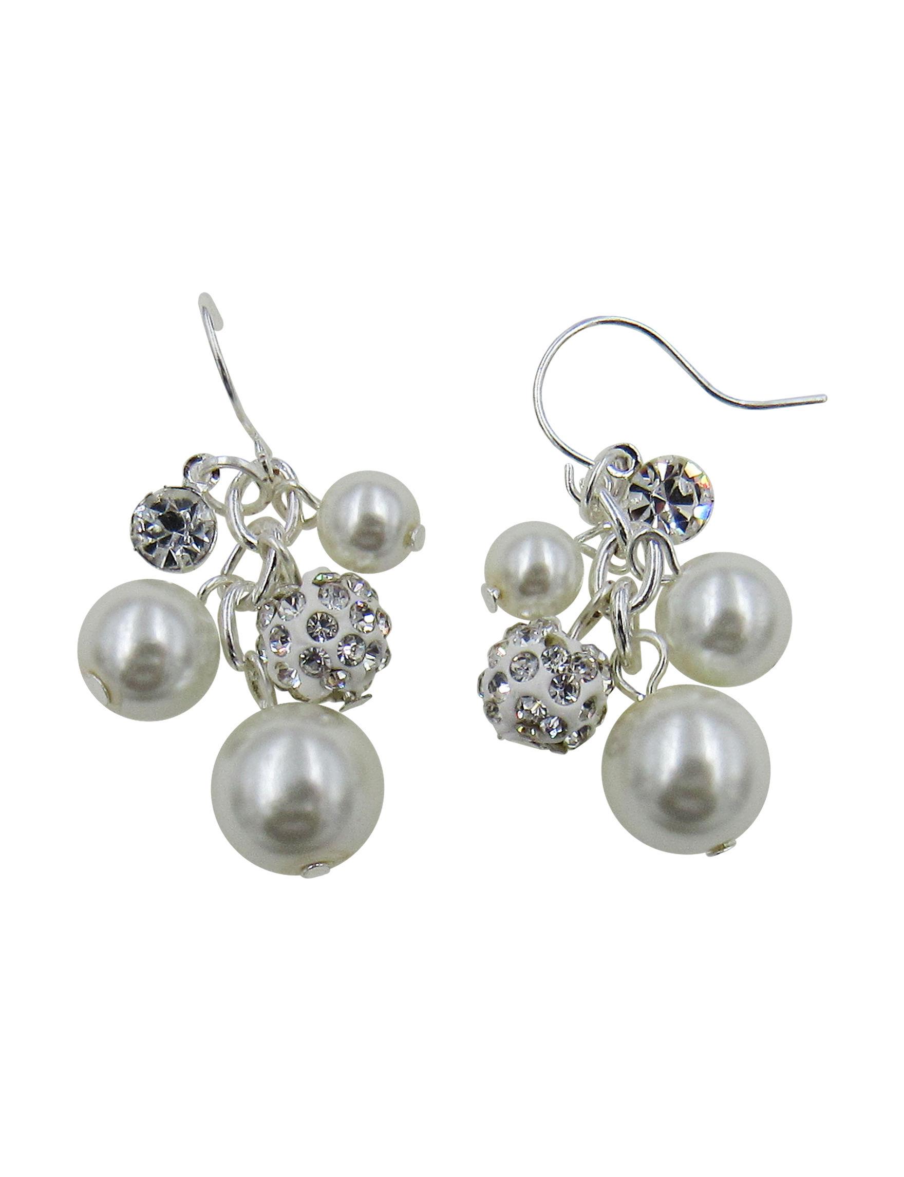 Via Roma Pearl / Crystal Drops Earrings Fashion Jewelry
