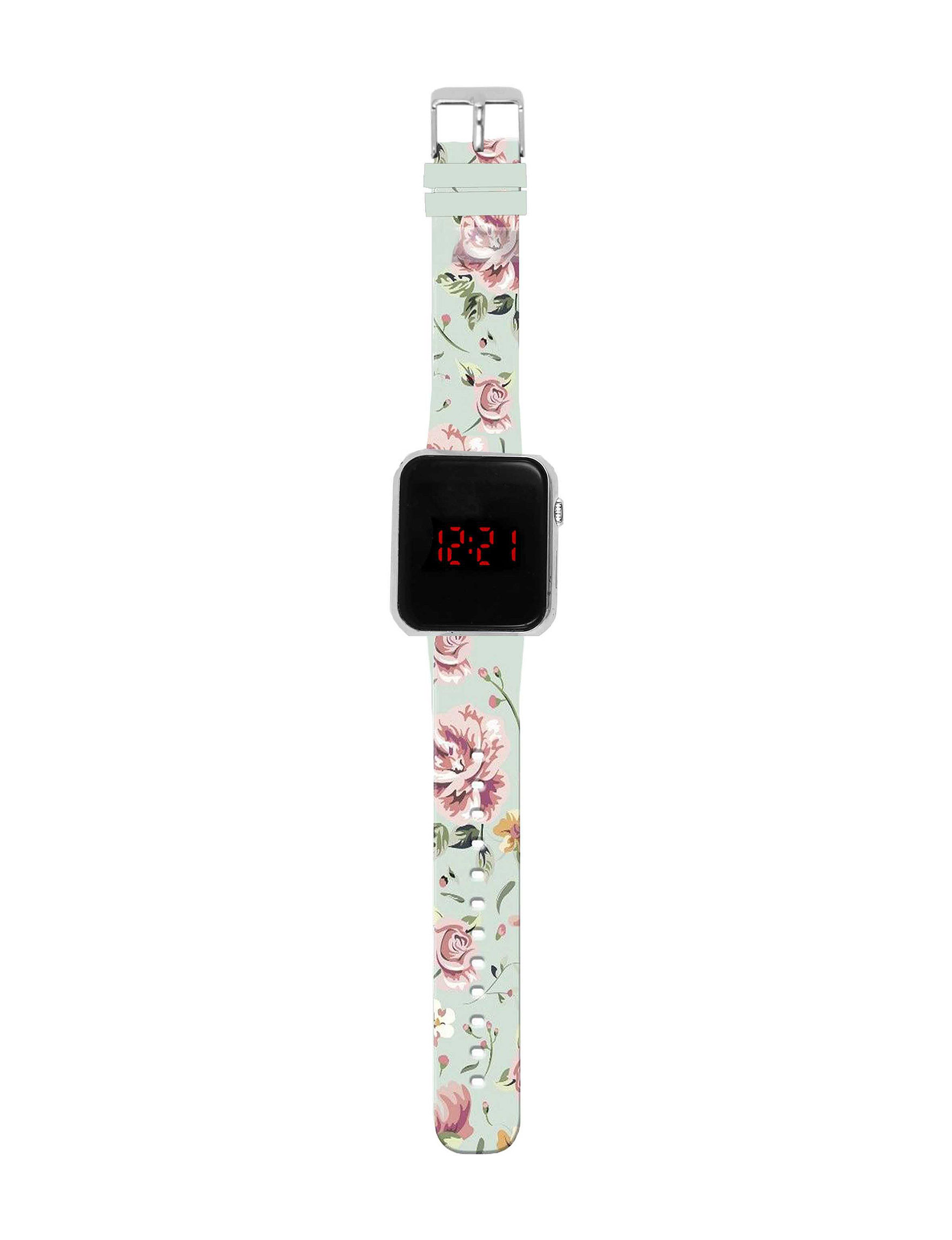 Global Time Floral Print Fashion Watches