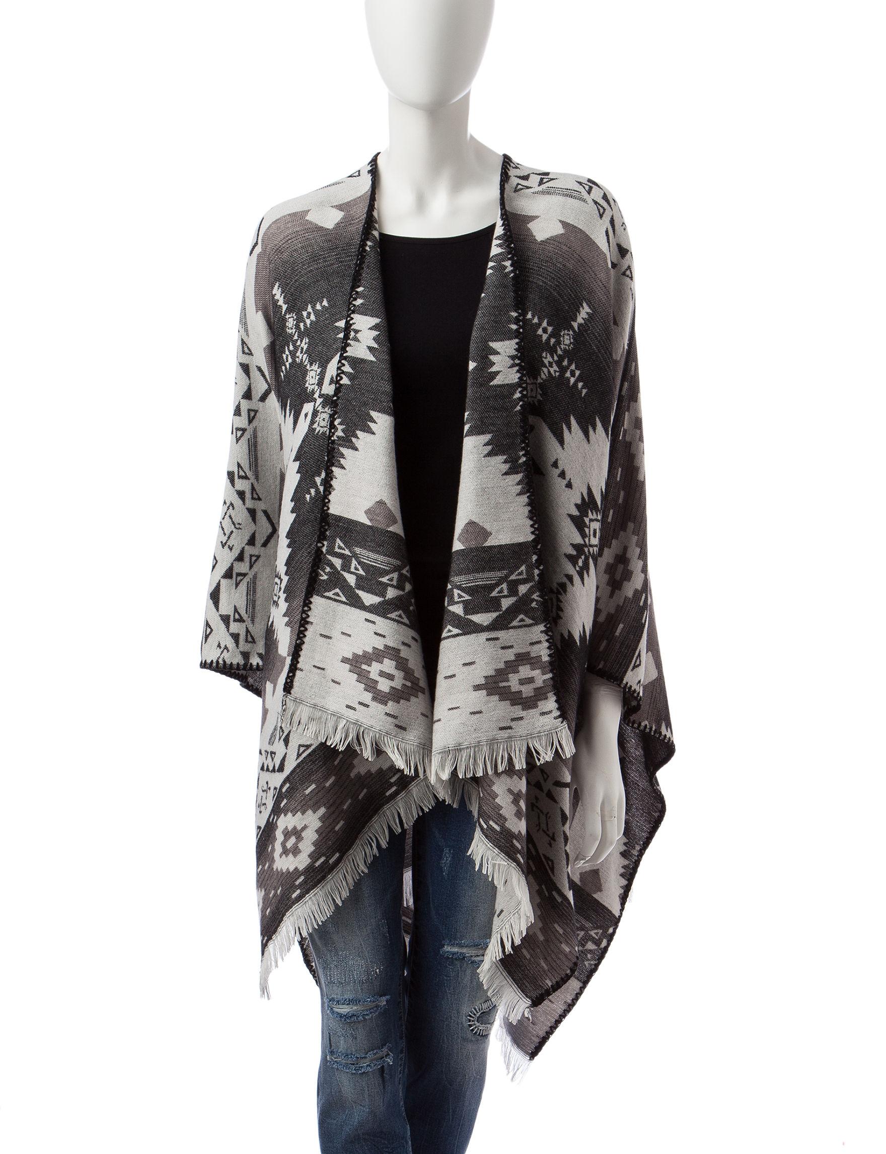Jessica Simpson Black/Grey Scarves & Wraps Ruanas