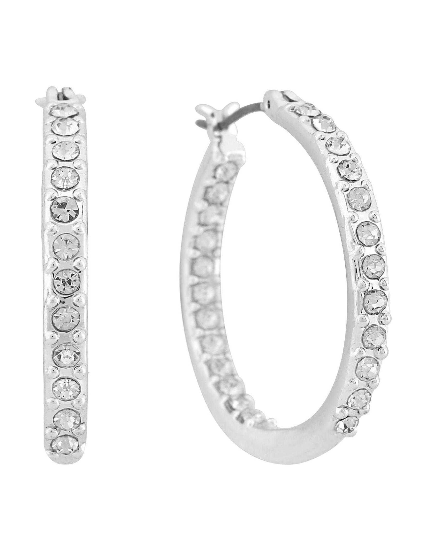Gloria Vanderbilt Silver Hoops Earrings Fashion Jewelry