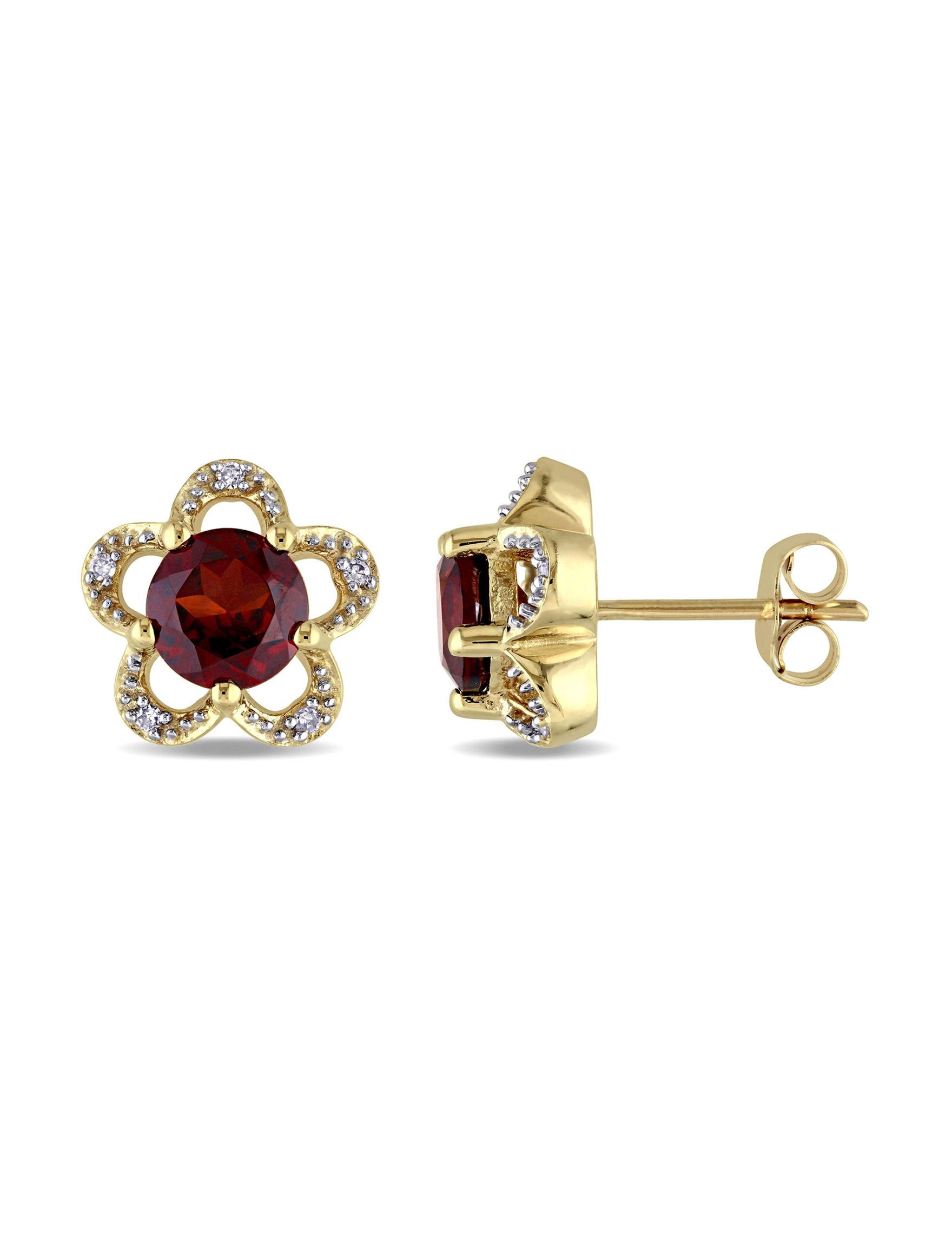 Laura Ashley Gold Studs Earrings Fine Jewelry