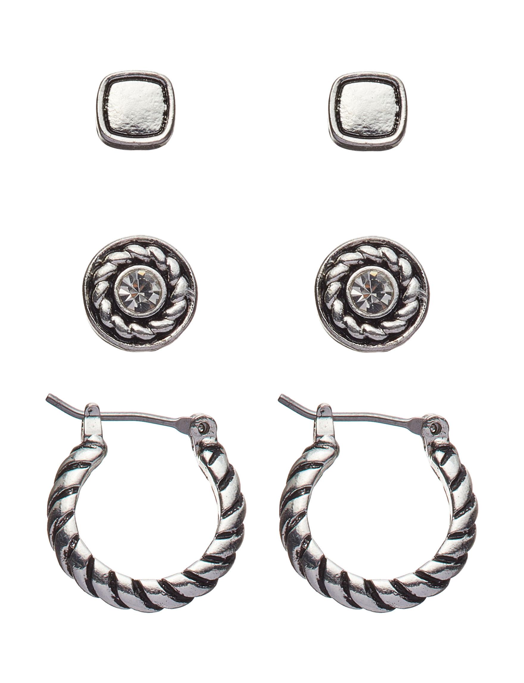 Napier Silver Hoops Studs Earrings Fashion Jewelry