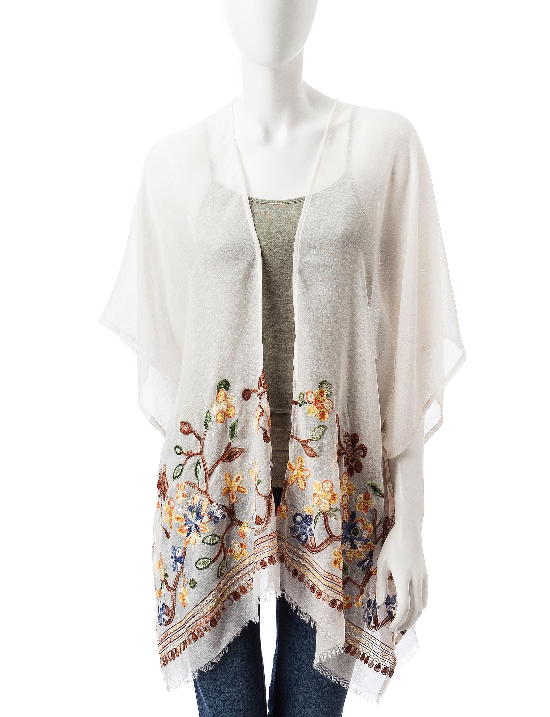Cejon Beige Kimonos & Toppers Scarves & Wraps