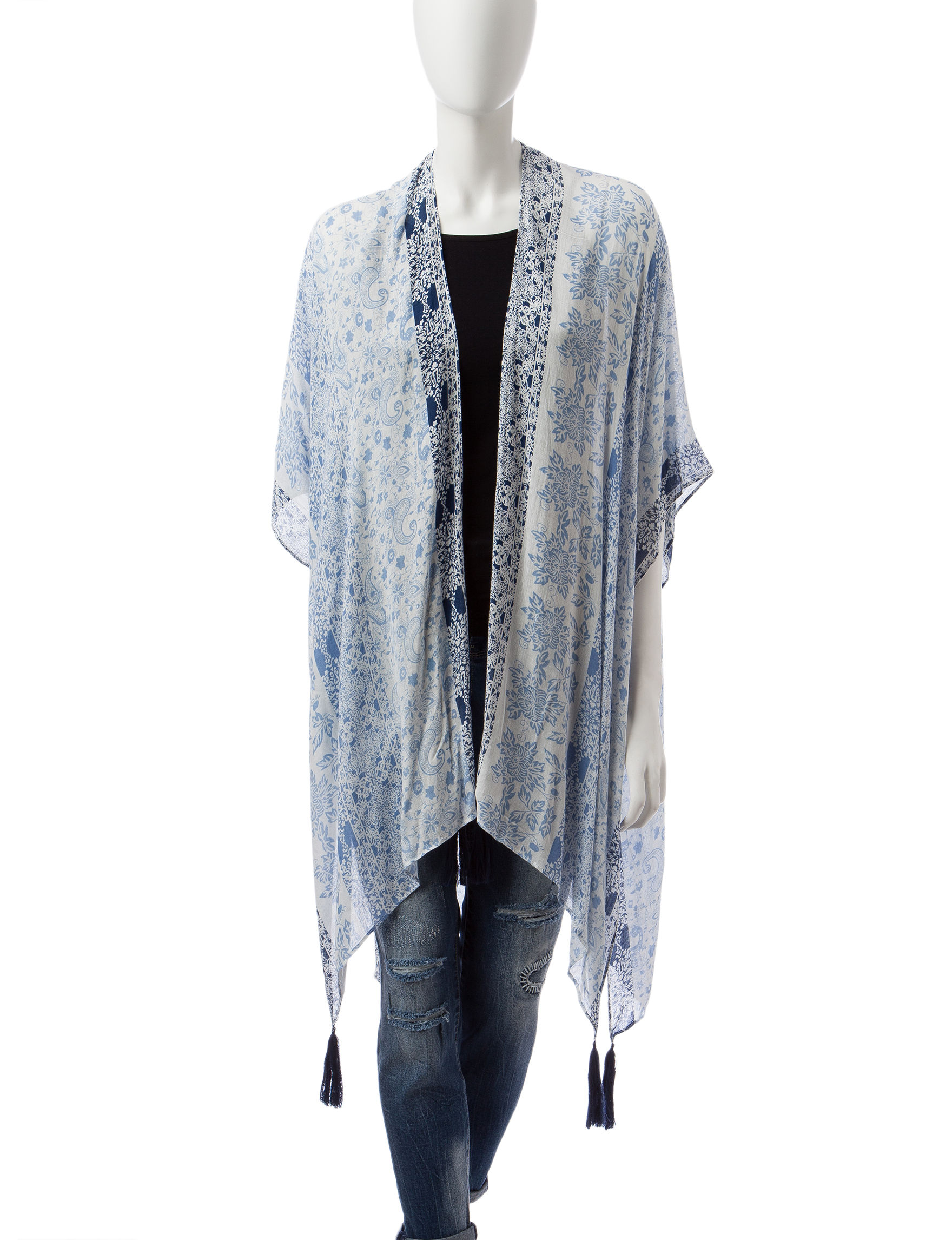 Basha Blue Kimonos & Toppers Scarves & Wraps