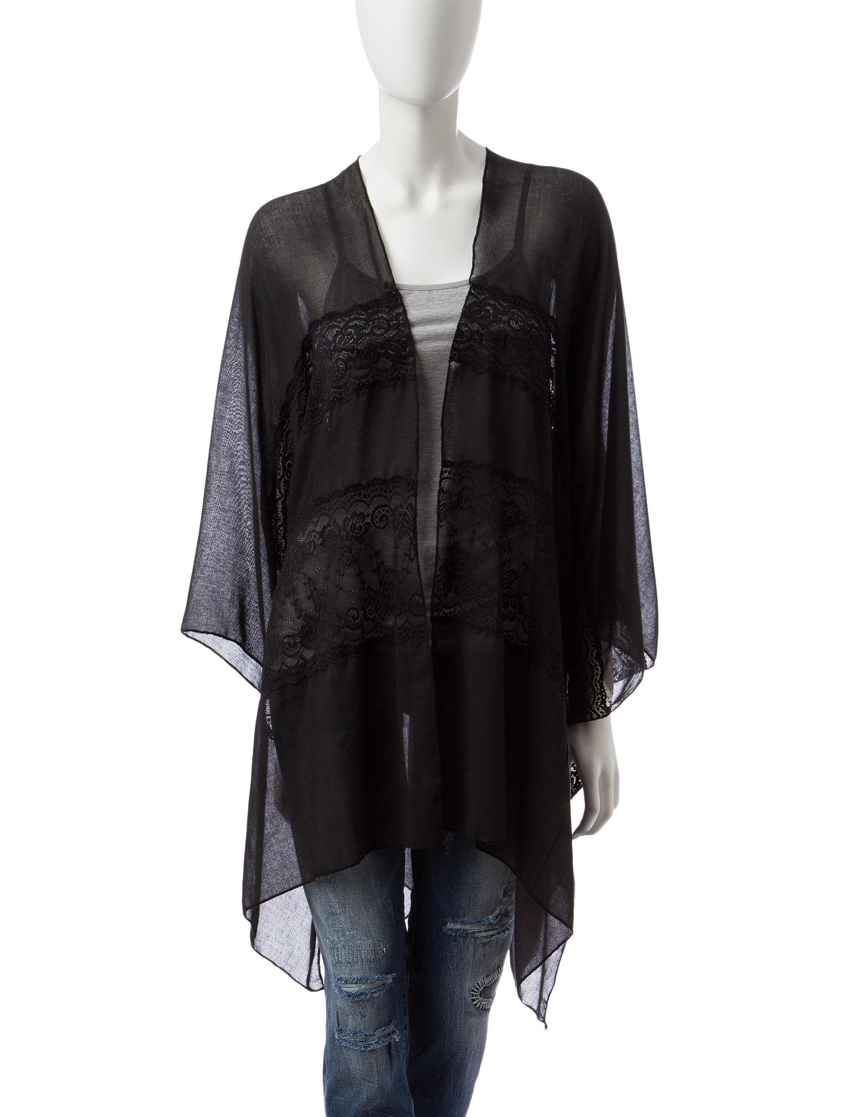 Basha Black Kimonos & Toppers Scarves & Wraps