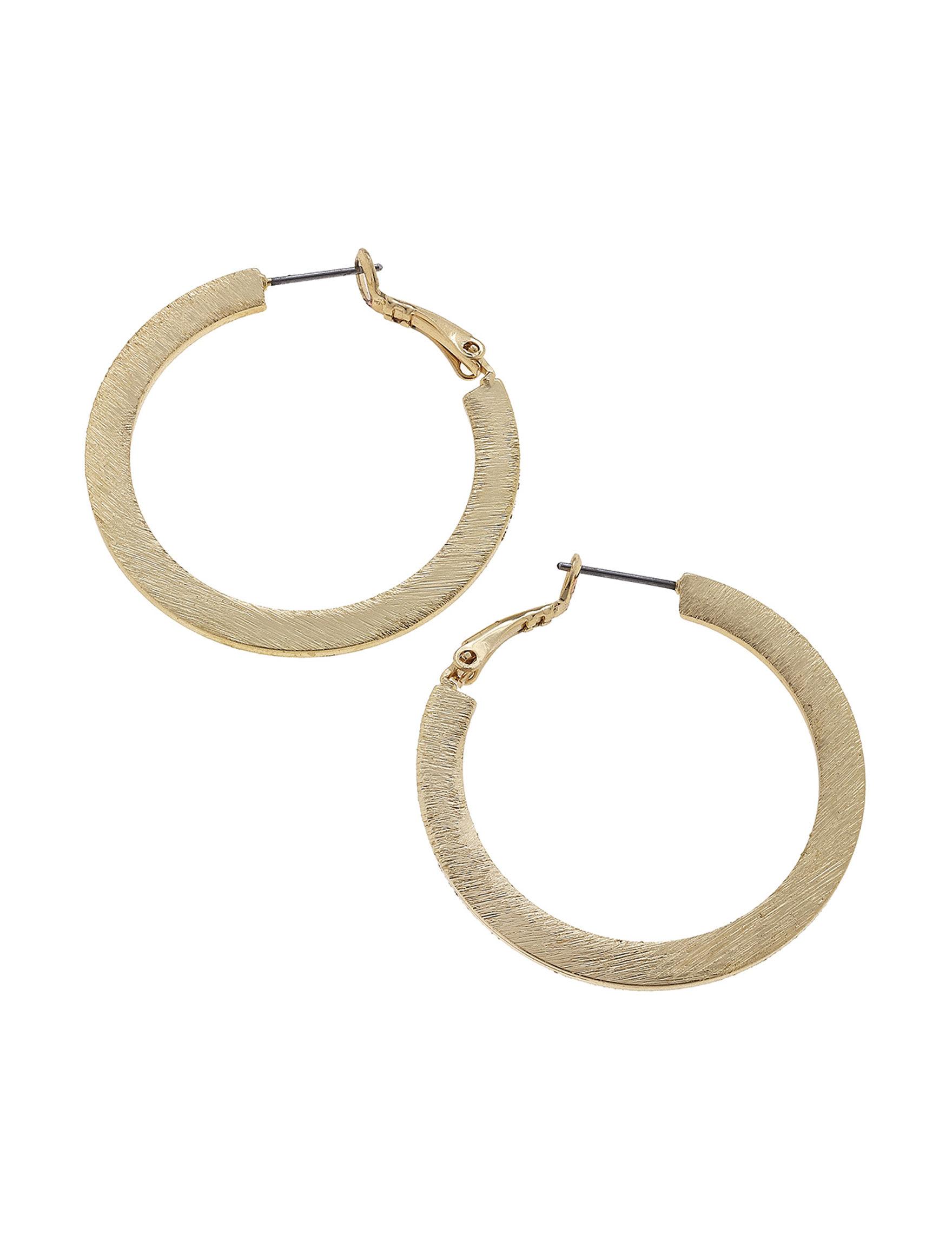 Blank Canvas Gold Hoops Earrings Fashion Jewelry