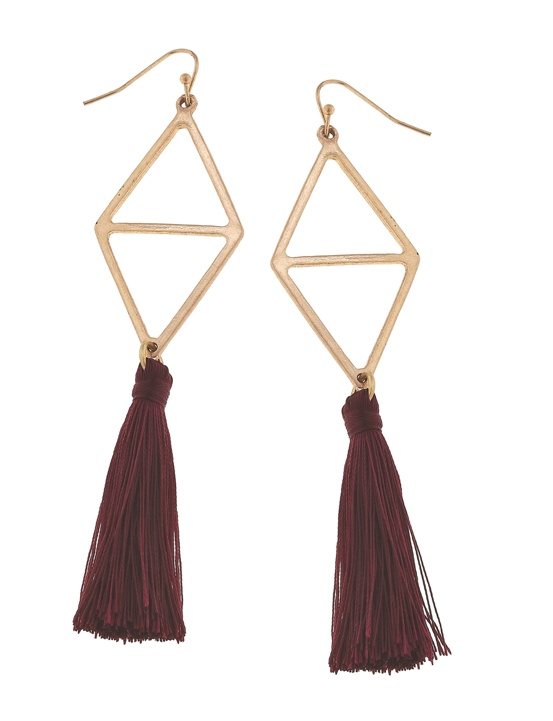 Blank Canvas Burgundy Drops Earrings Fashion Jewelry