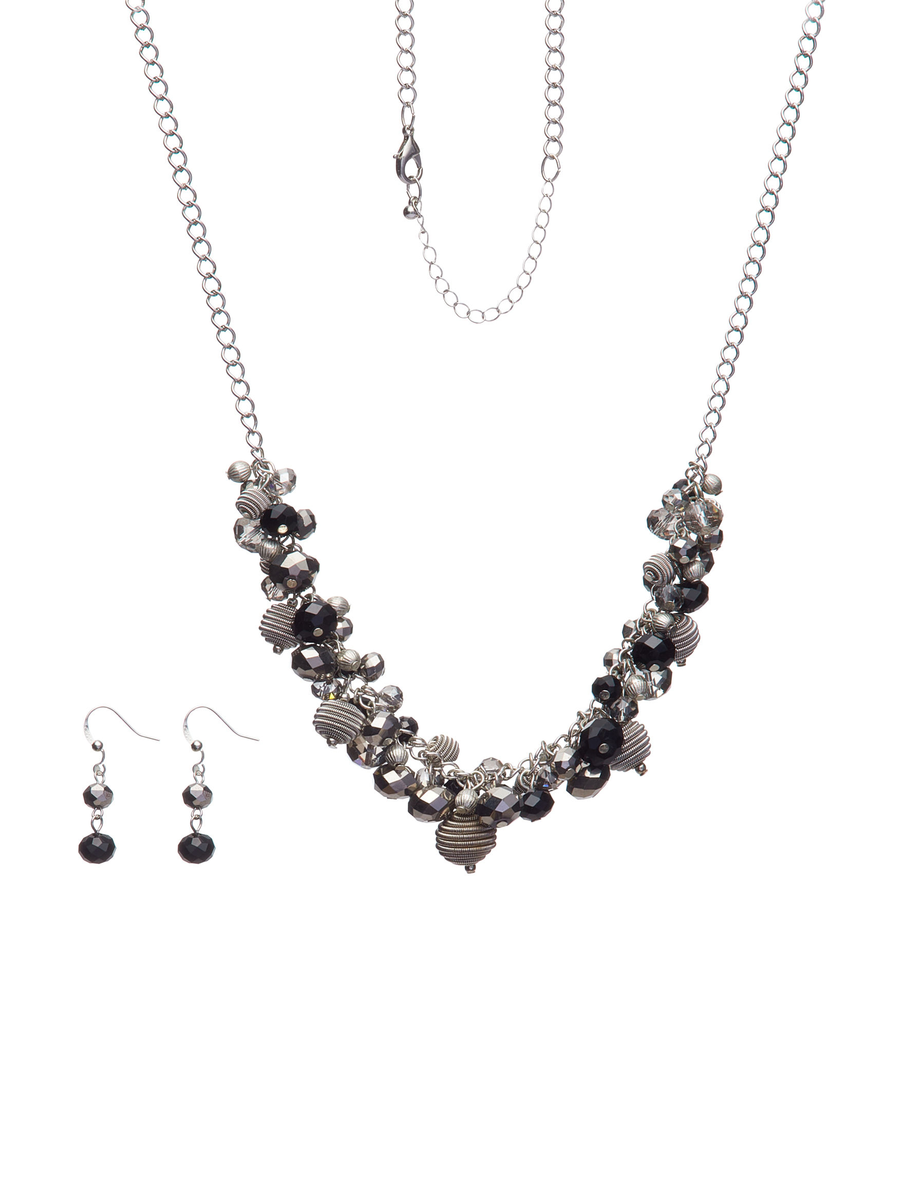 Hannah Silver / Black Drops Earrings Jewelry Sets Necklaces & Pendants Fashion Jewelry