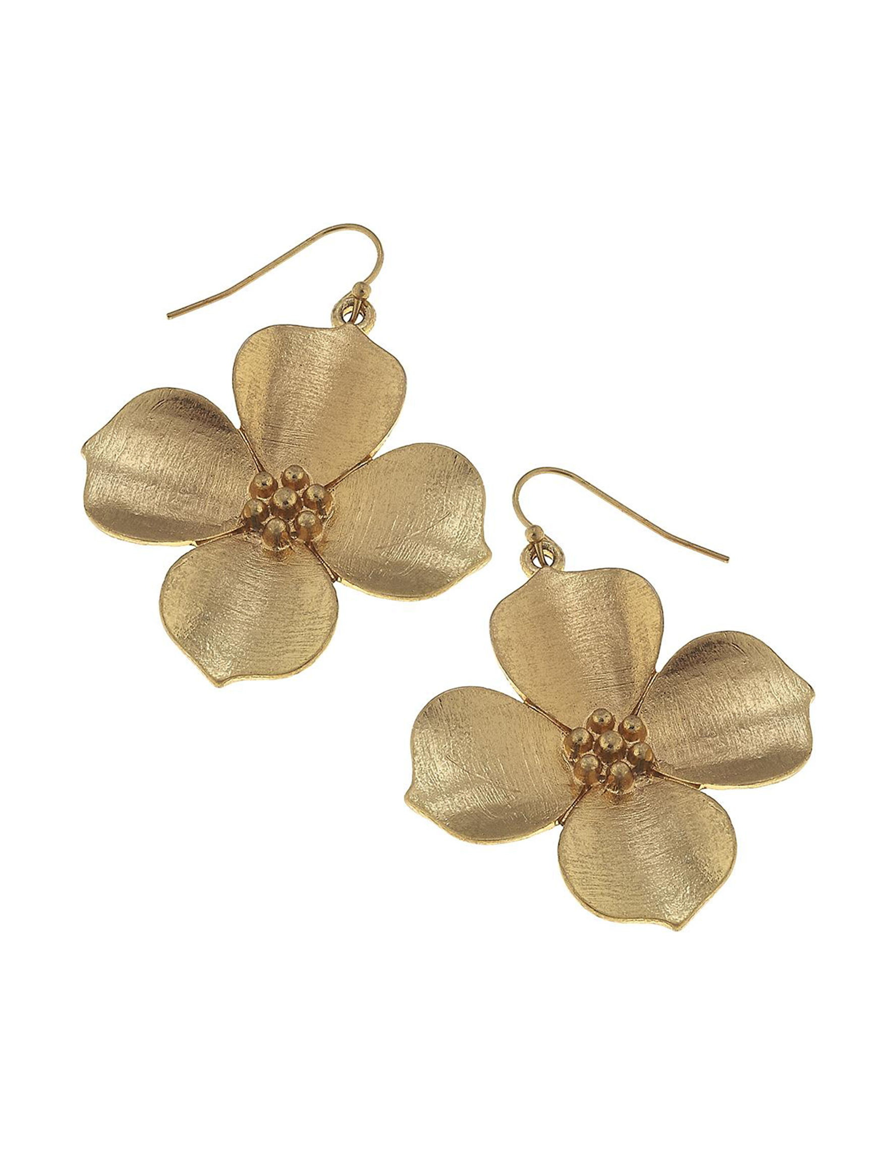 Blank Canvas Gold Drops Earrings Fashion Jewelry