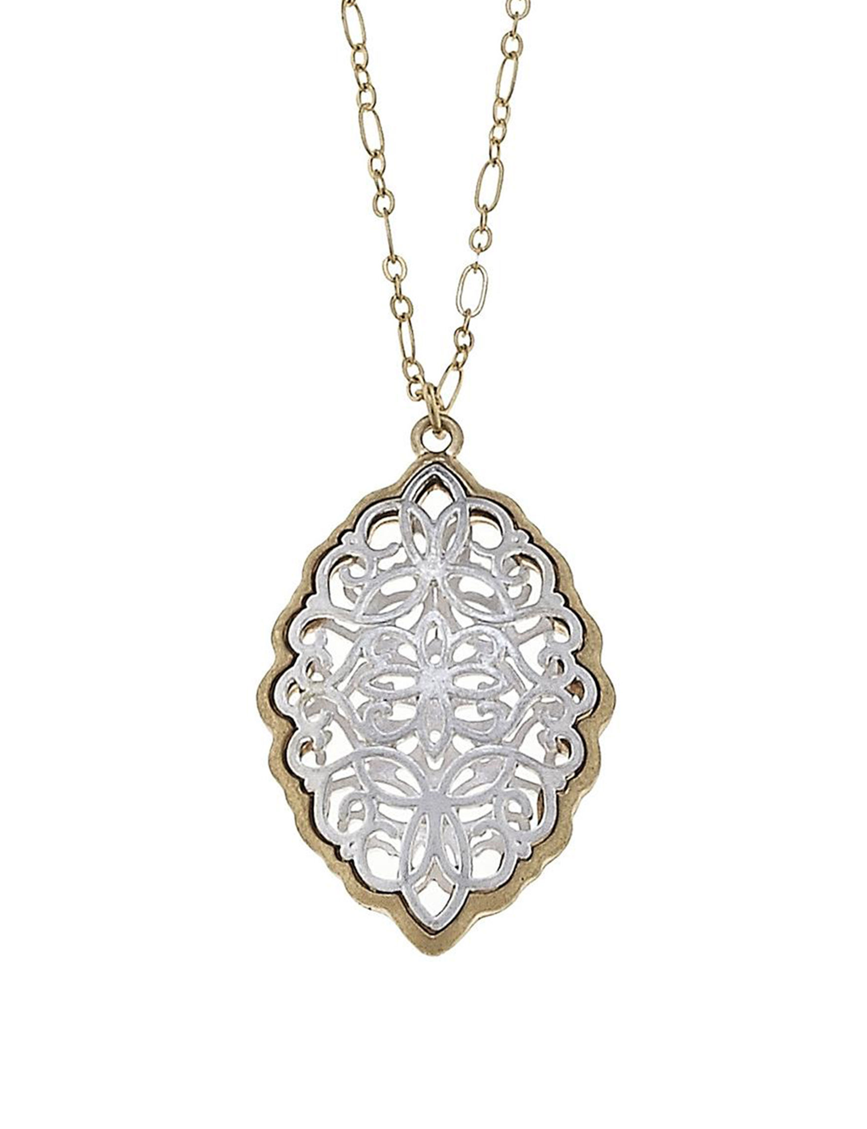 Blank Canvas Two Tone Necklaces & Pendants Fashion Jewelry