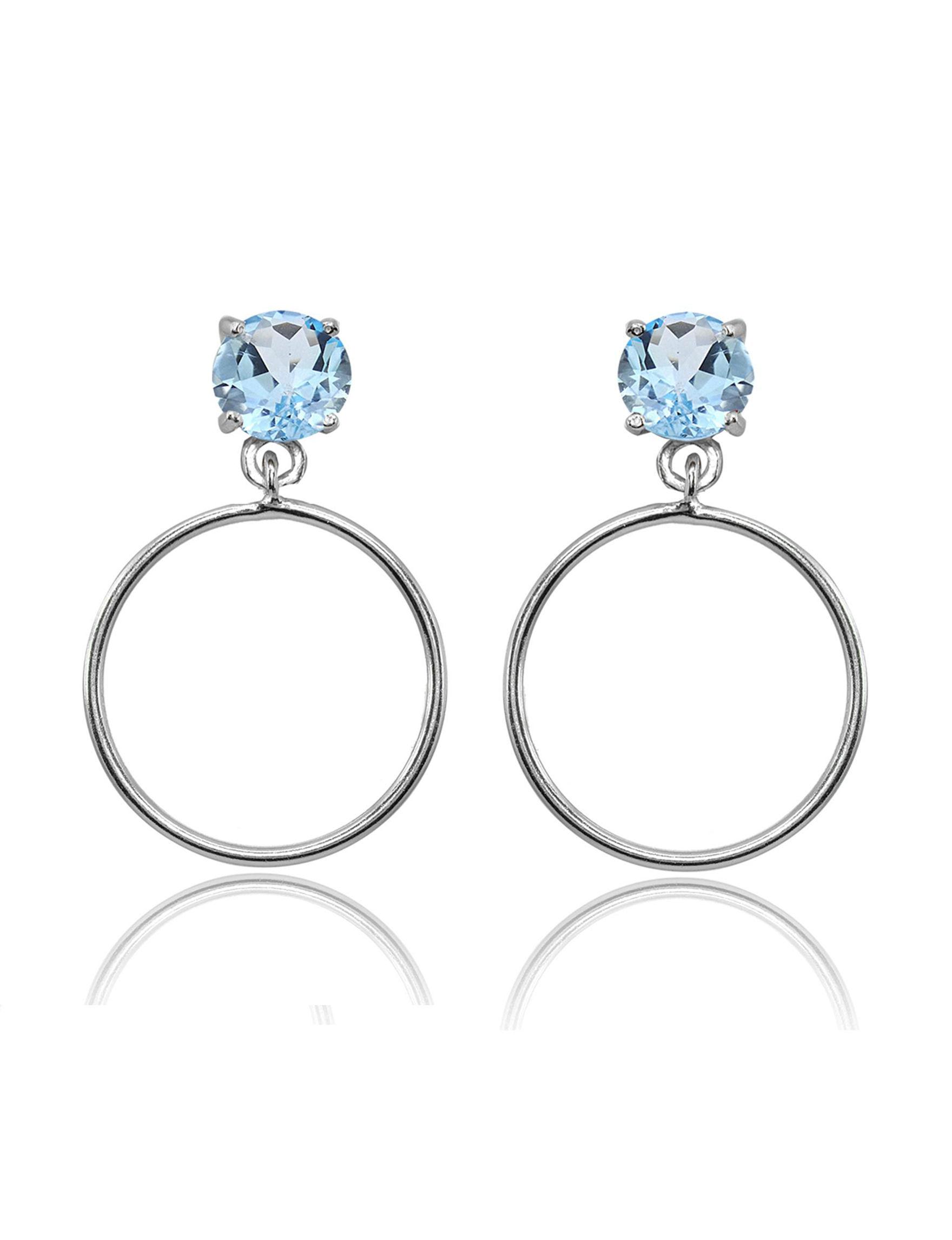 FMC Blue / Silver Hoops Earrings Fine Jewelry