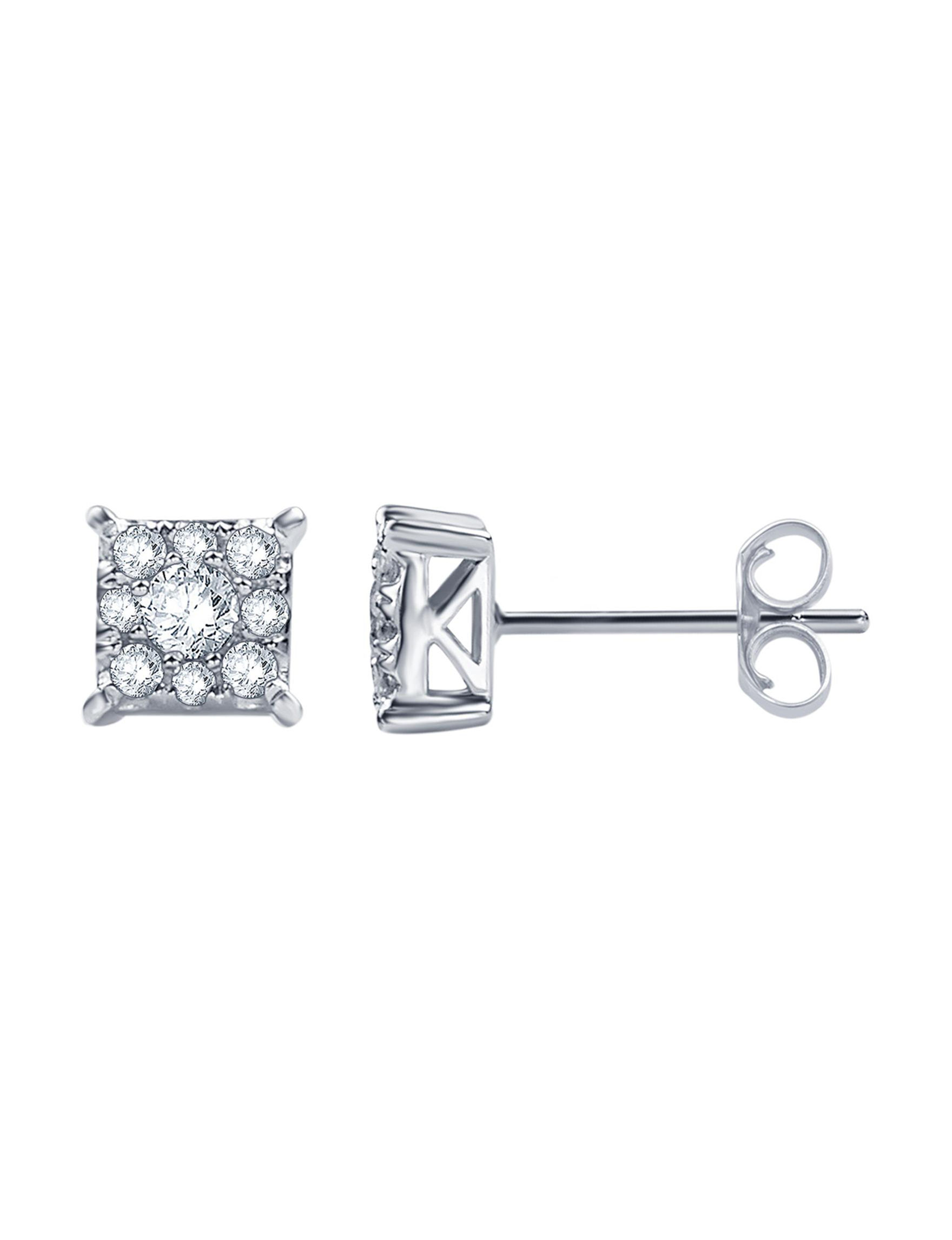 Brilliant Diamond Silver Studs Earrings Fine Jewelry