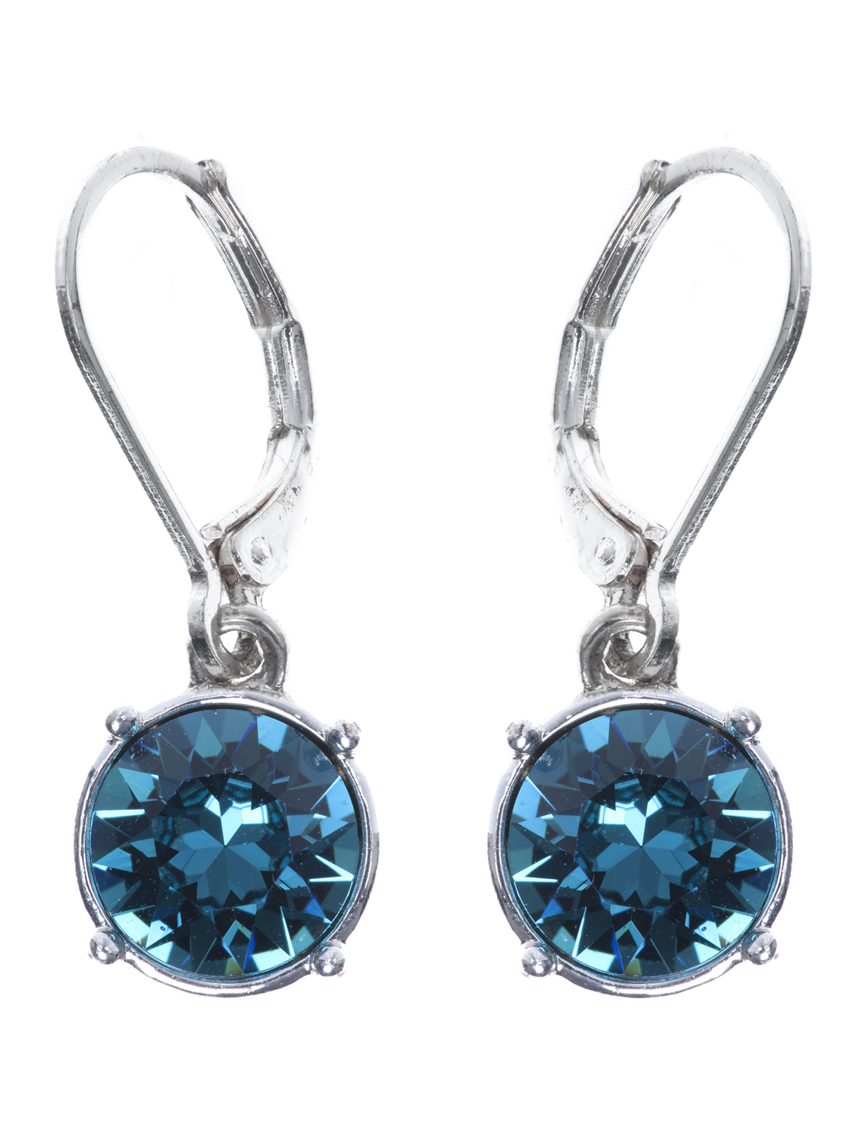 Gloria Vanderbilt Blue / Silver Drops Earrings Fashion Jewelry