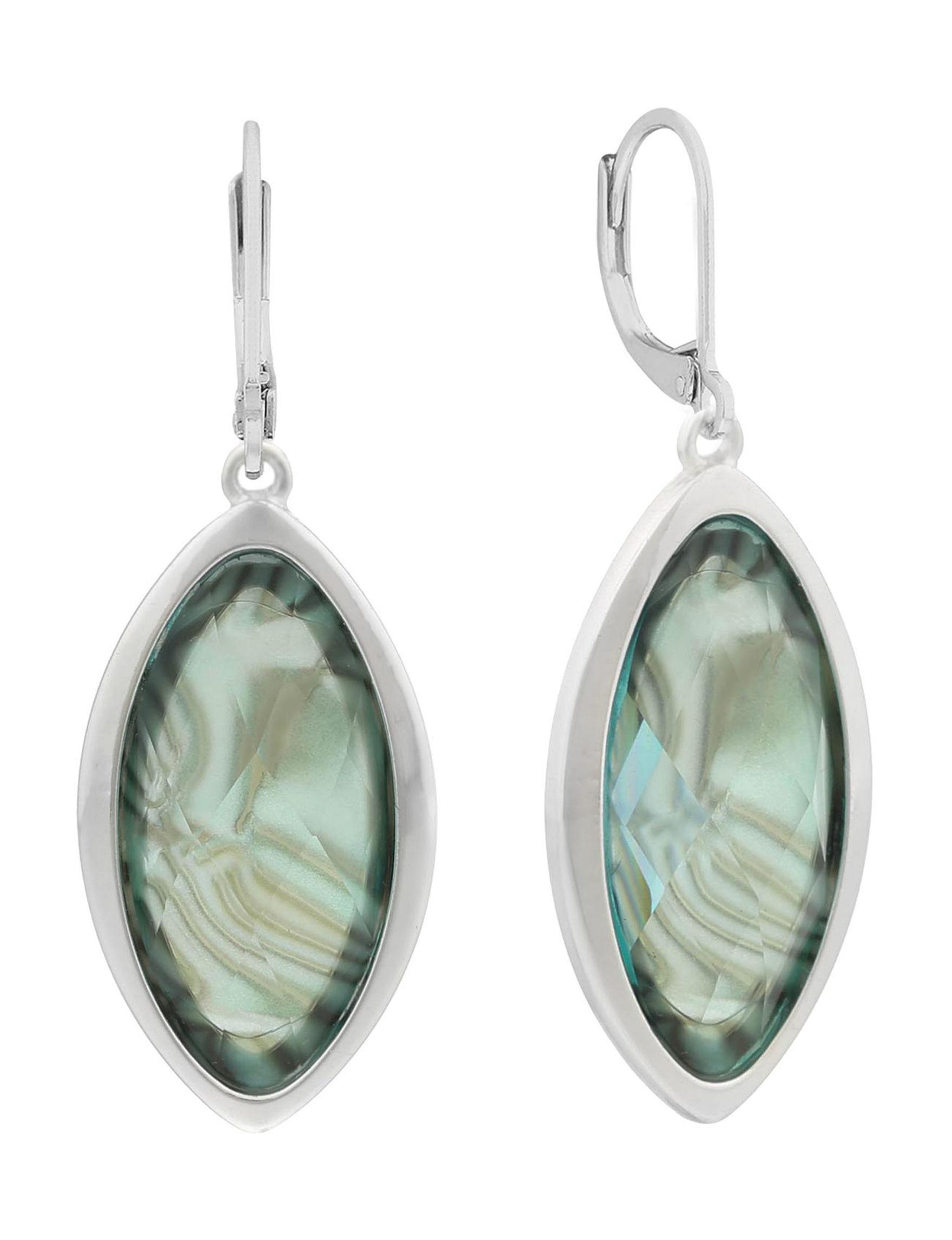 Gloria Vanderbilt Green / Silver Drops Earrings Fashion Jewelry