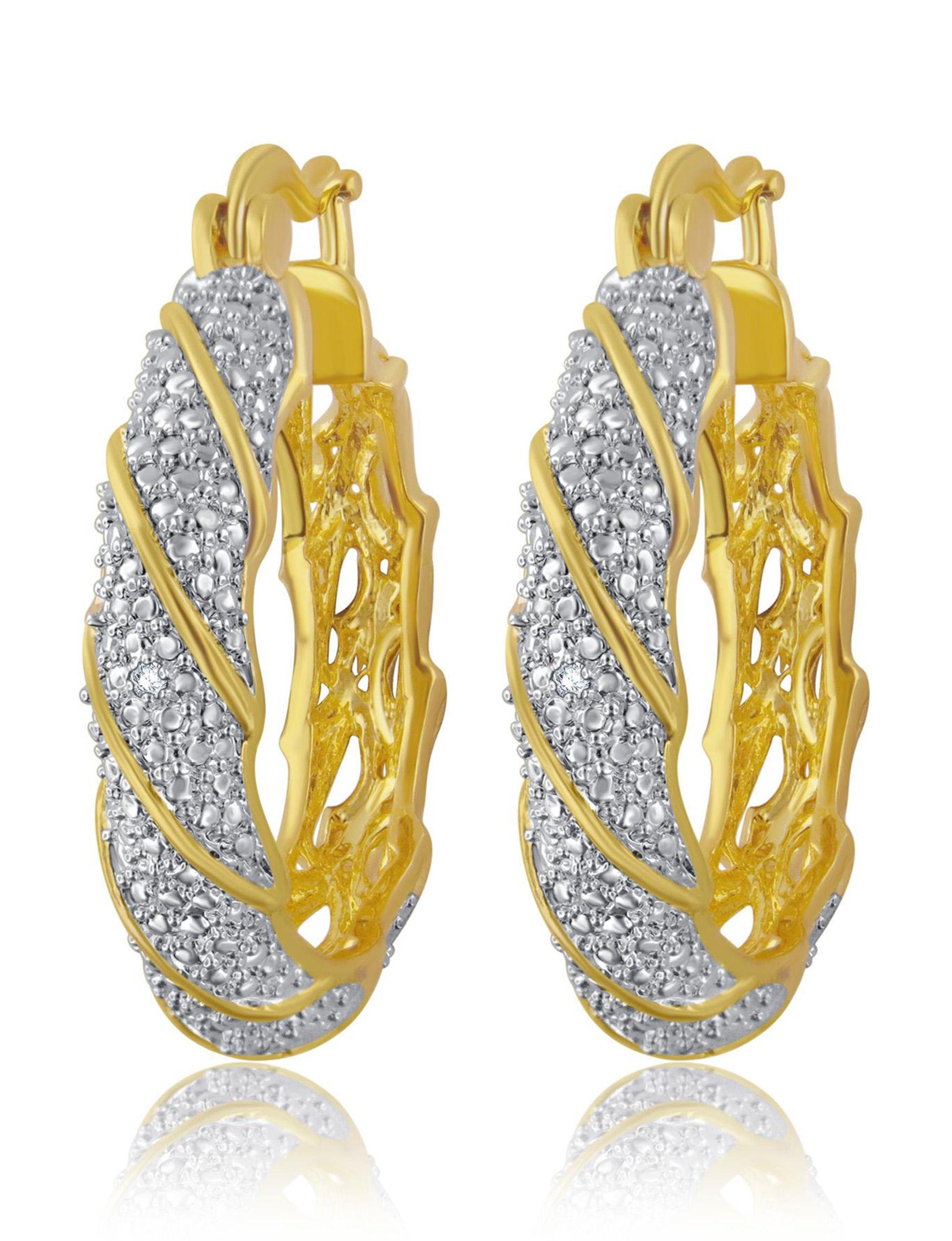 Brilliant Diamond Gold Hoops Earrings Fine Jewelry