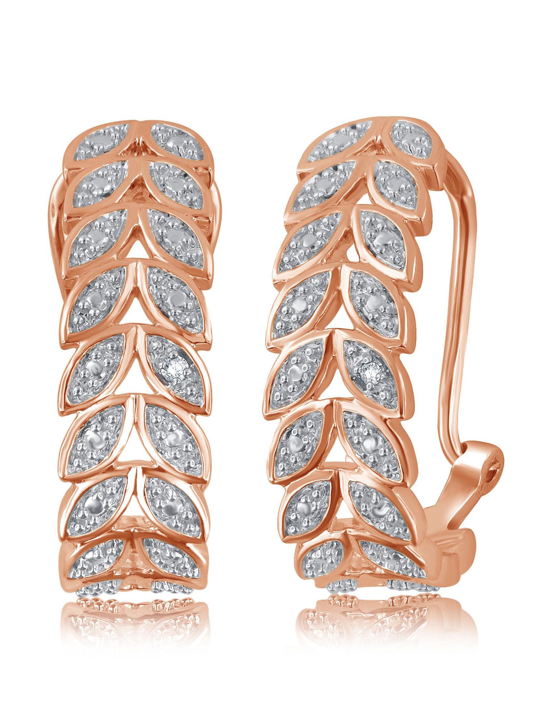 Brilliant Diamond Rose Gold Hoops Earrings Fine Jewelry