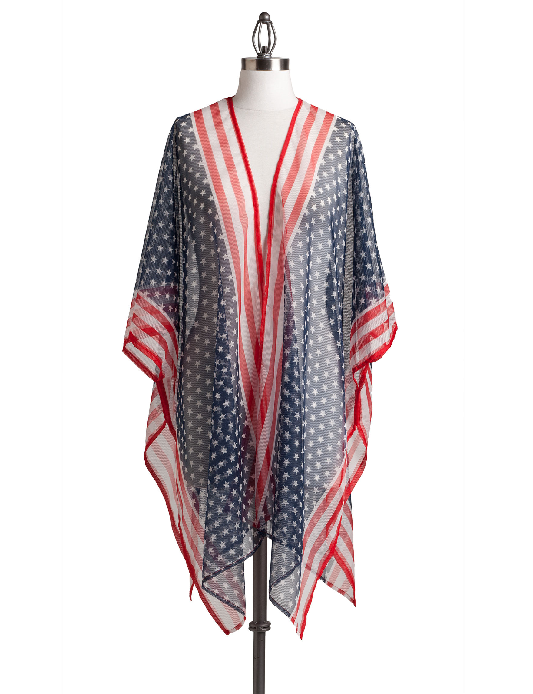 Cejon Red / White / Blue Kimonos & Toppers Scarves & Wraps