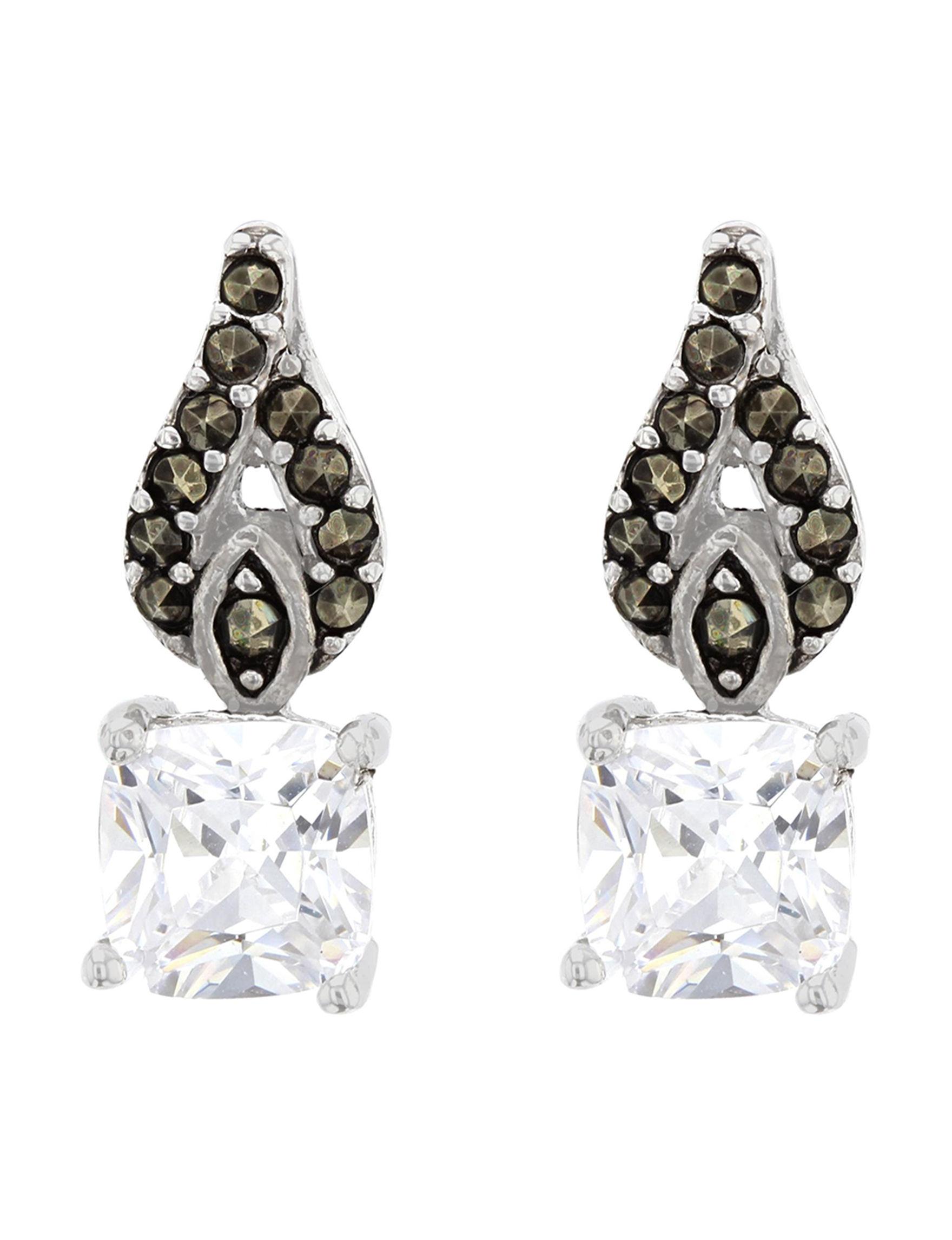 Sunstone White / Silver Drops Earrings Fine Jewelry